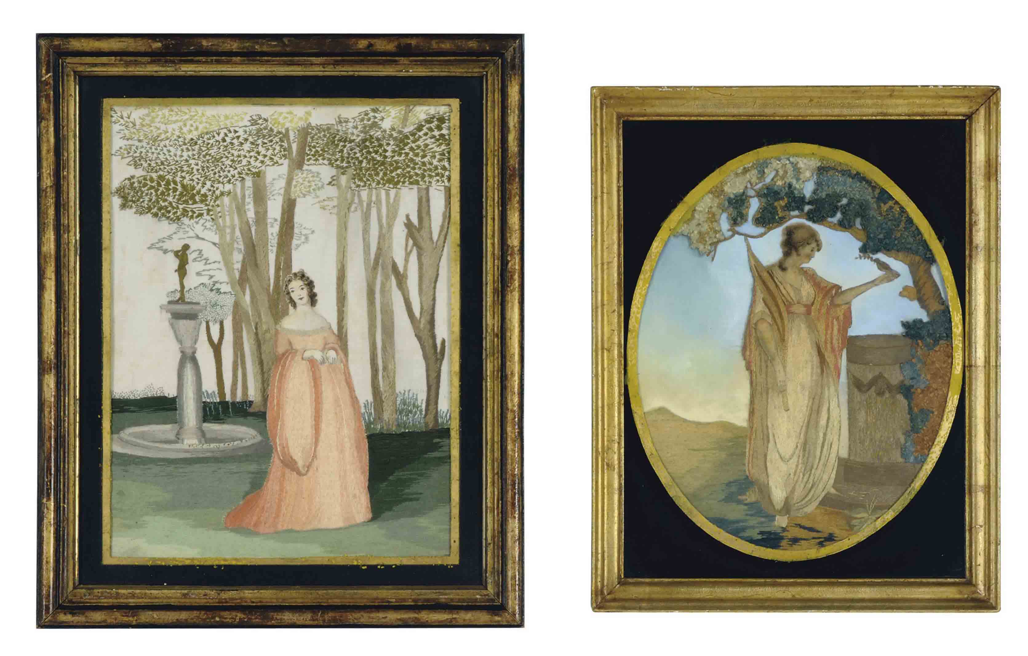 A GROUP OF TWO AMERICAN SCHOOLGIRL SILK EMBROIDERED PANELS,