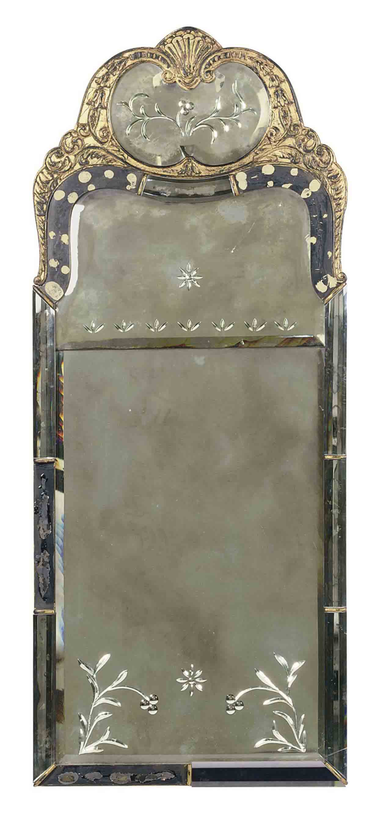 AN EBONIZED, PARCEL-GILT AND ETCHED-GLASS PIER MIRROR,