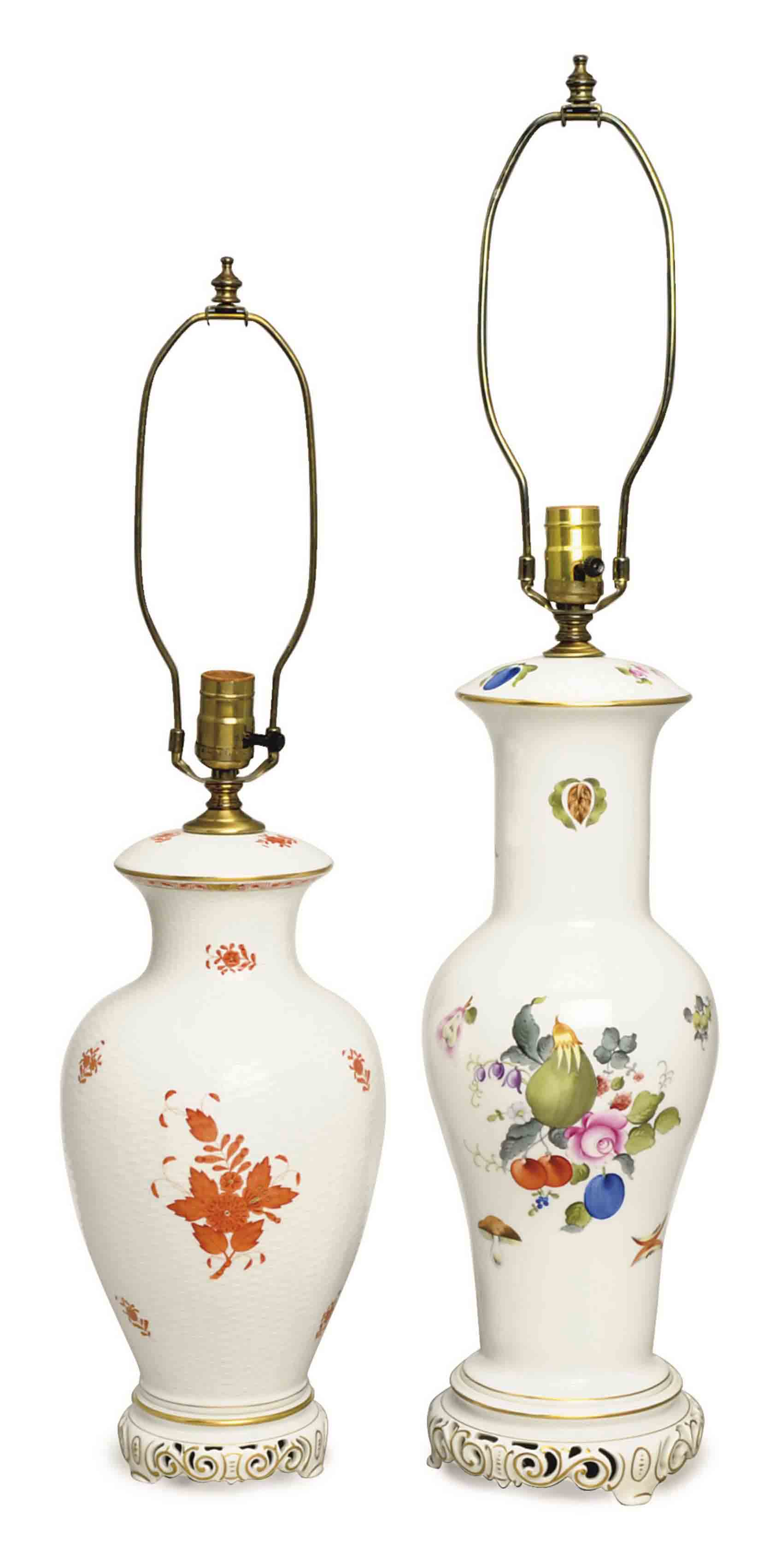 TWO HEREND WHITE-GROUND AND FLORAL DECORATED TABLE LAMPS,