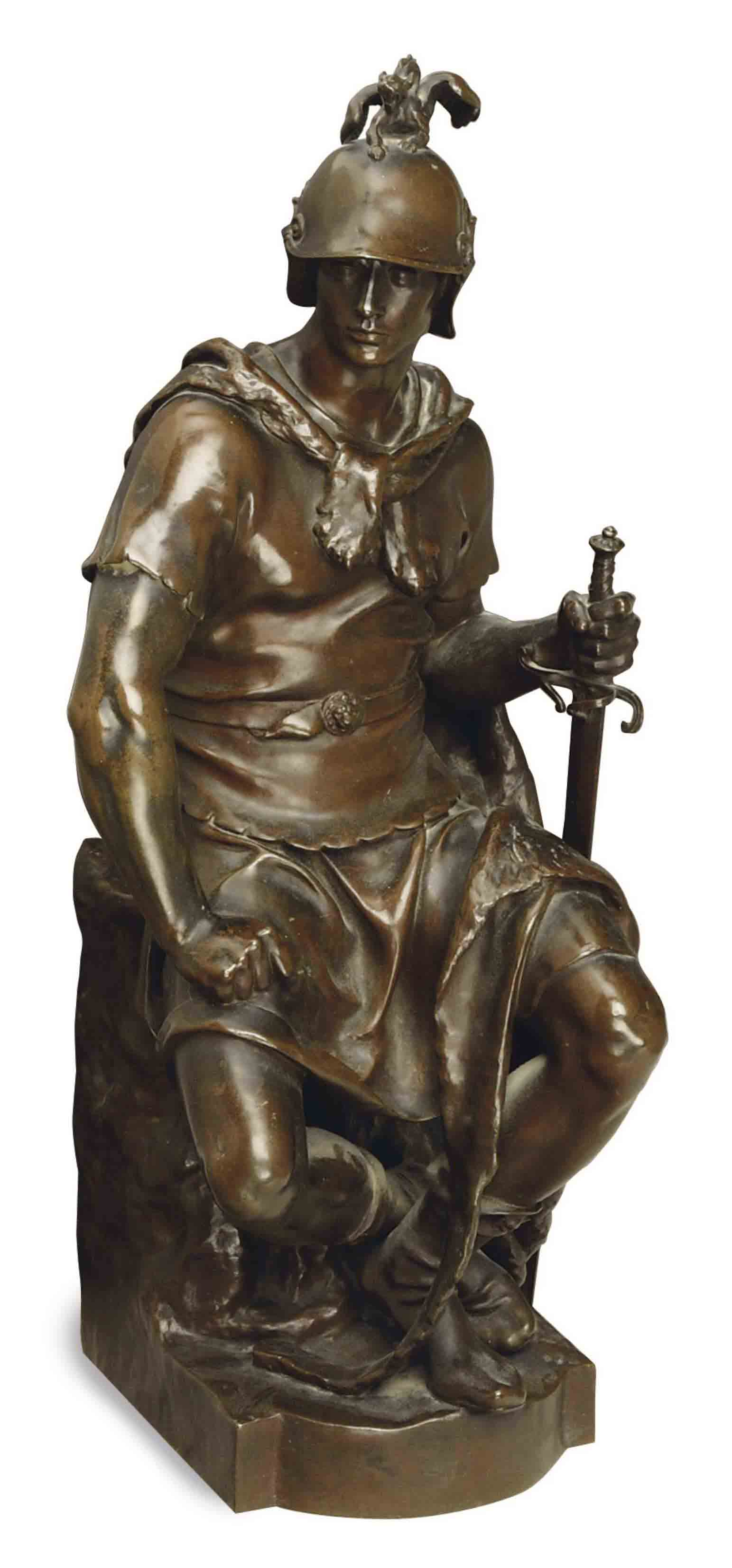 A FRENCH PATINATED-BRONZE FIGURE OF A SEATED SOLDIER,