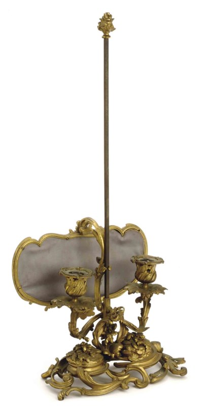 A FRENCH GILT BRONZE TWO-LIGHT