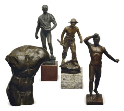 A GROUP OF FOUR PATINATED-BRON