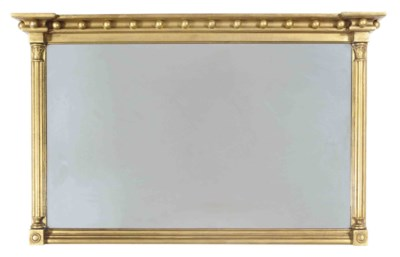 A GILTWOOD OVERMANTEL MIRROR,