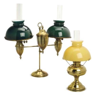 TWO AMERICAN BRASS FLUID LAMPS