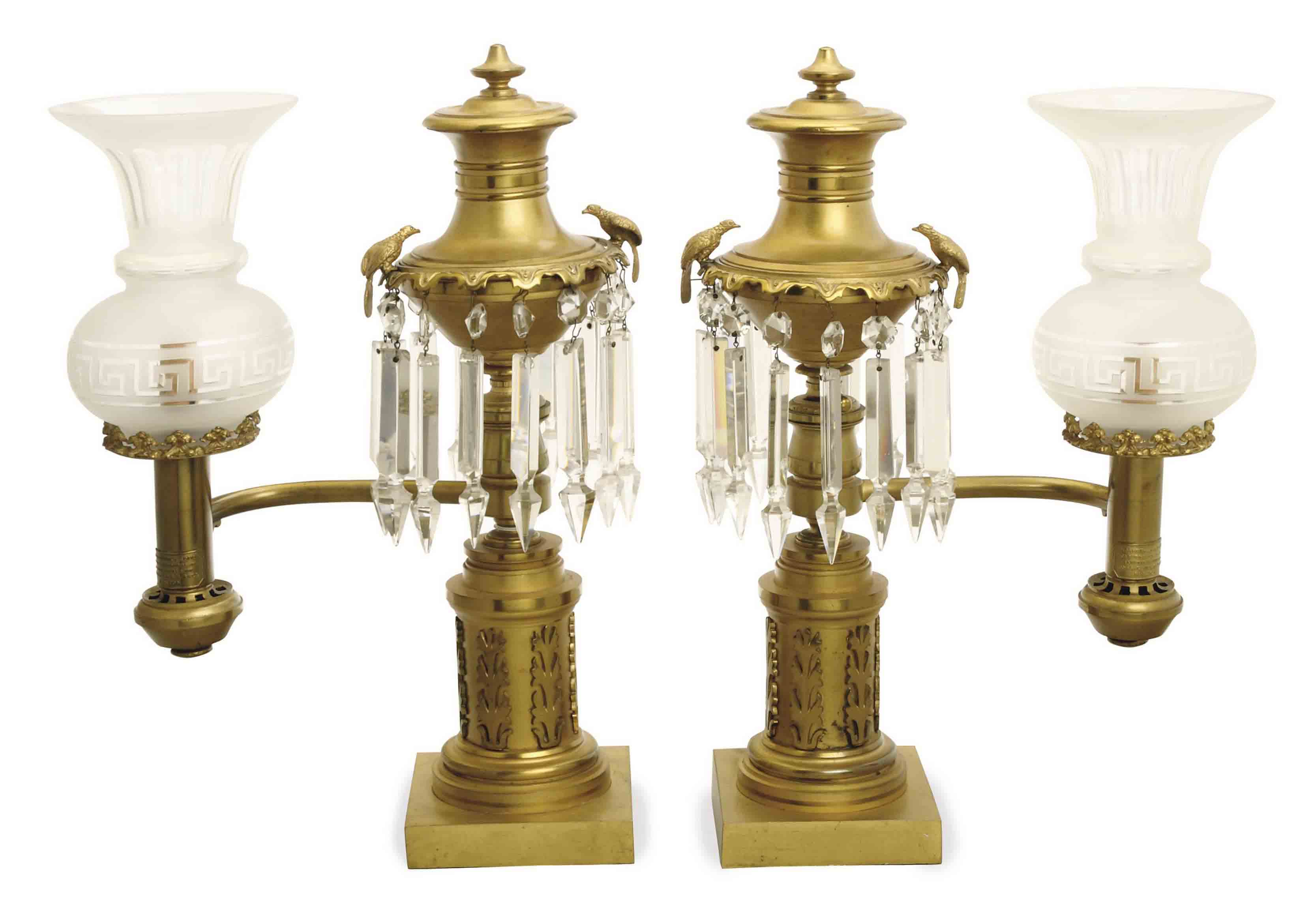 A PAIR OF AMERICAN CLASSICAL GILT BRONZE AND CUT GLASS ARGAND LAMPS,