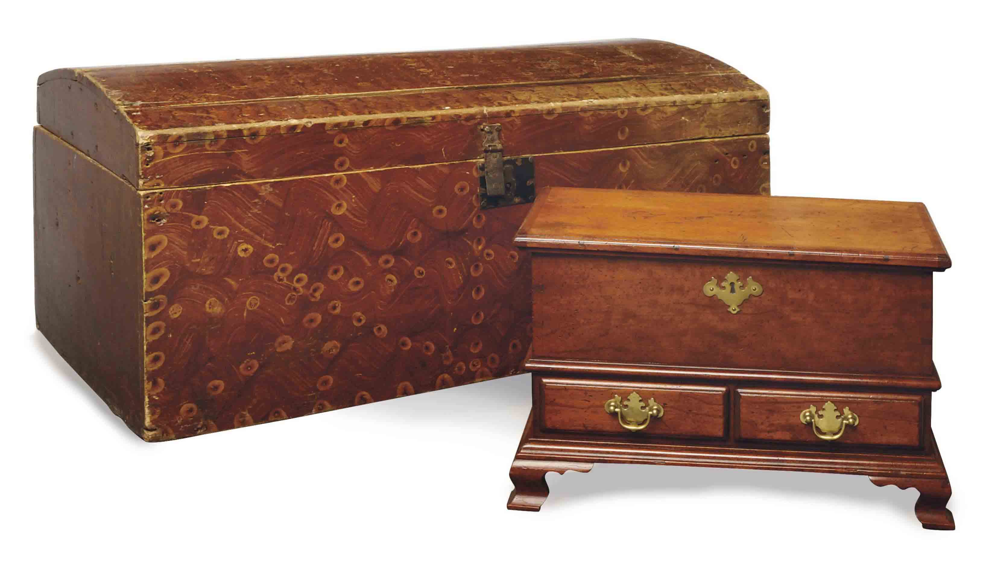 A 'BIRDS-EYE MAPLE' GRAIN-PAINTED DOME TOP TRUNK,
