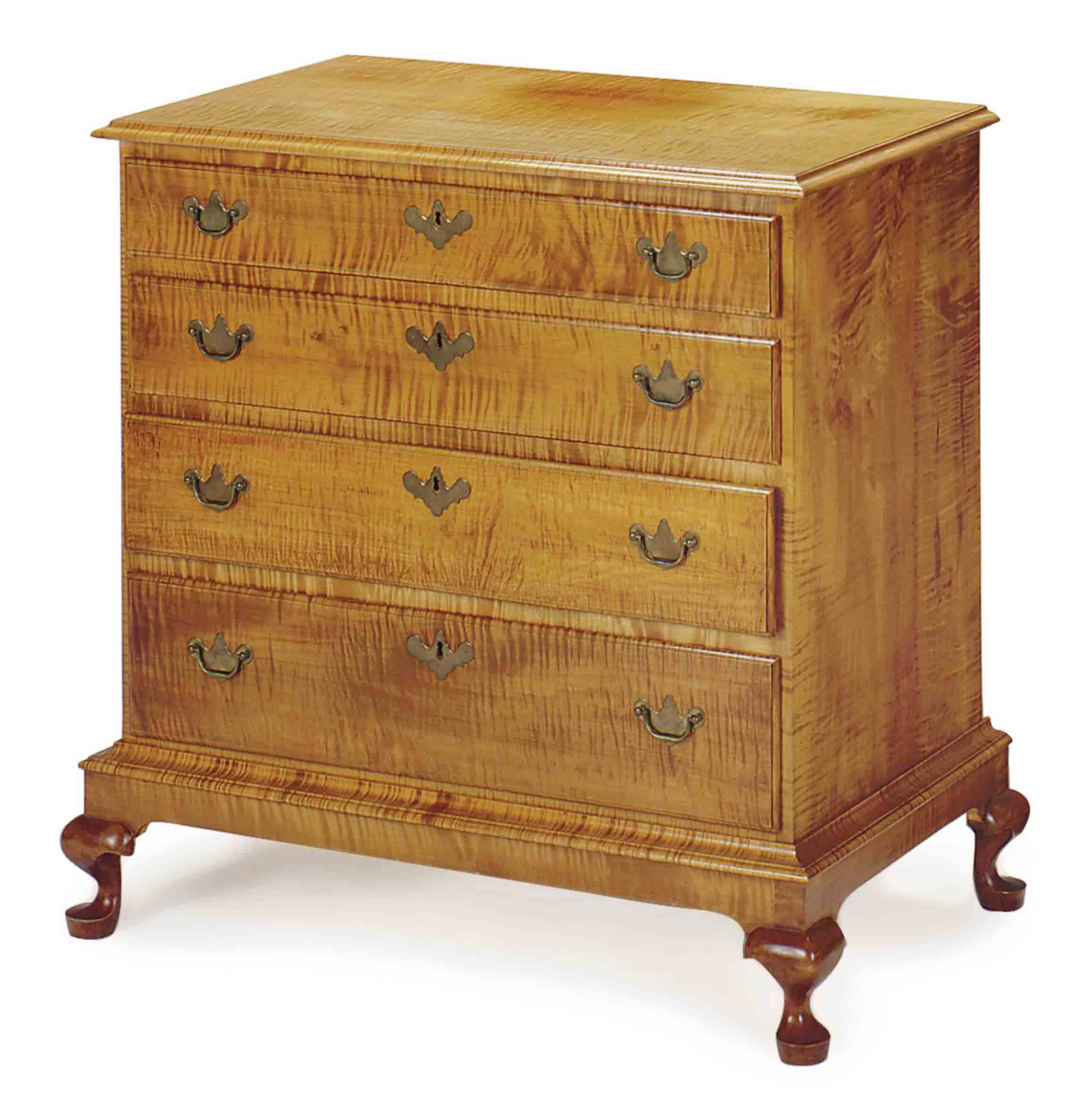 AN AMERICAN FIGURED MAPLE CHEST OF DRAWERS,