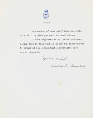CHURCHILL, Winston S. Typed le