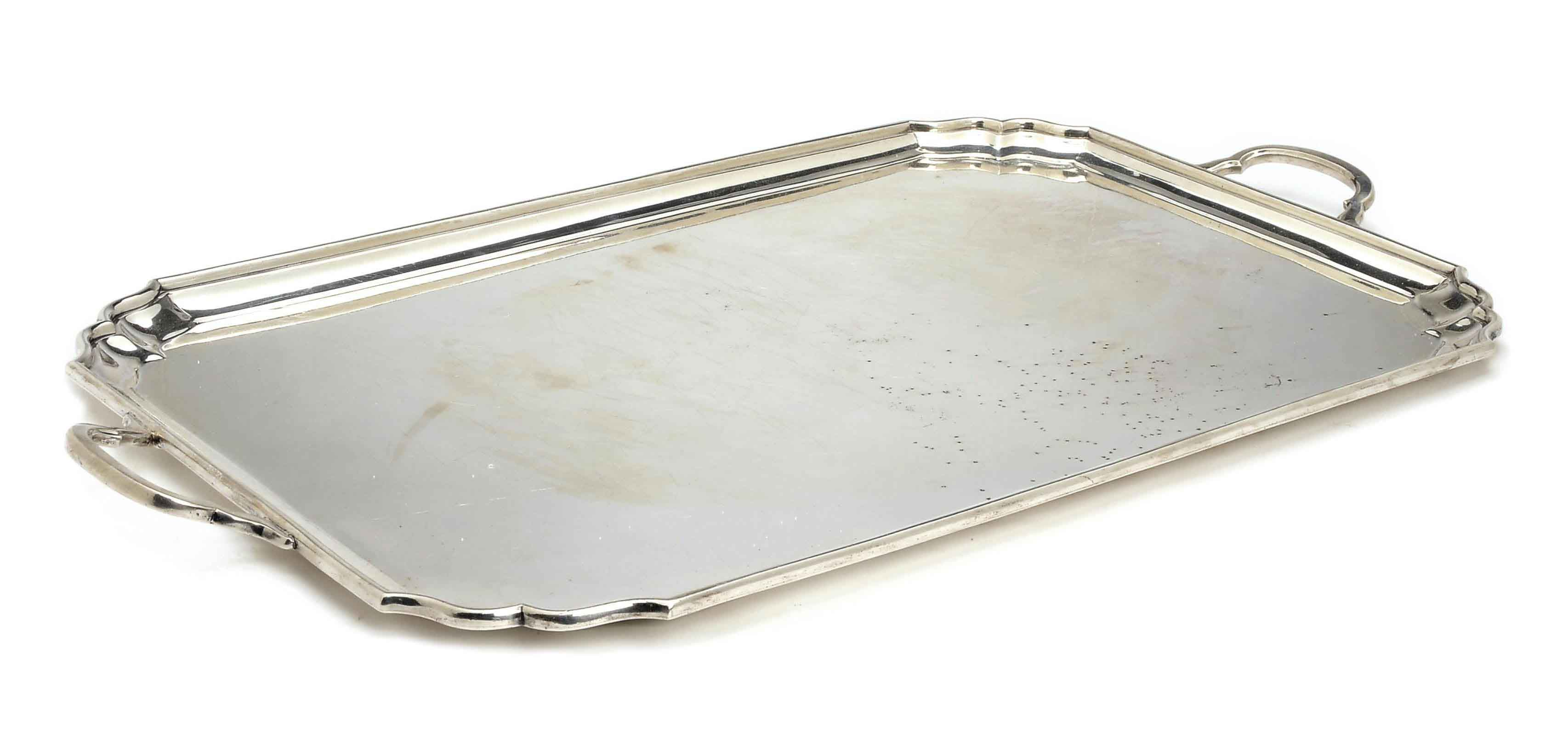 AN AMERICAN SILVER TWO-HANDLED TRAY,