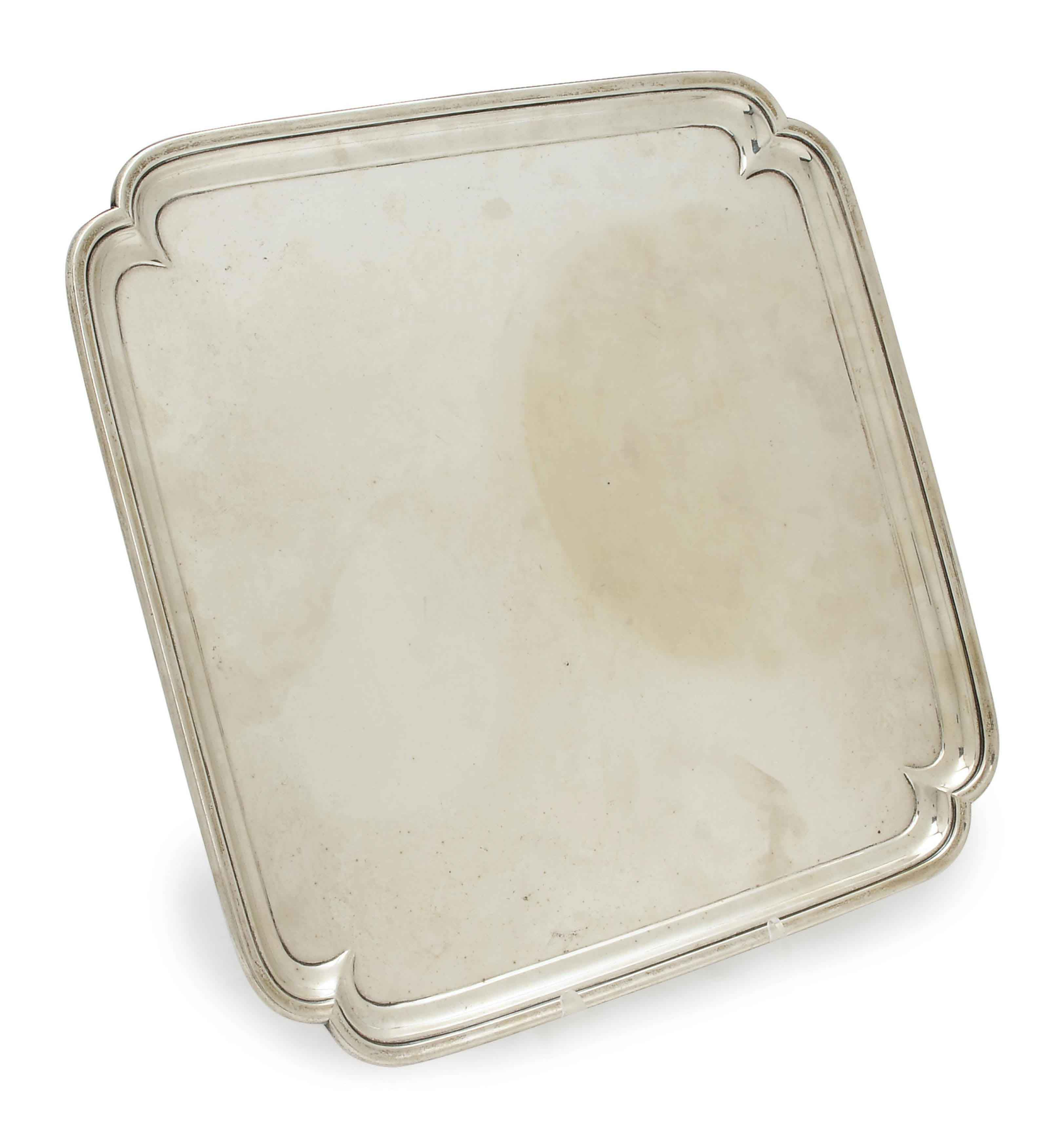AN AMERICAN SILVER CANTED SQUARE SALVER,
