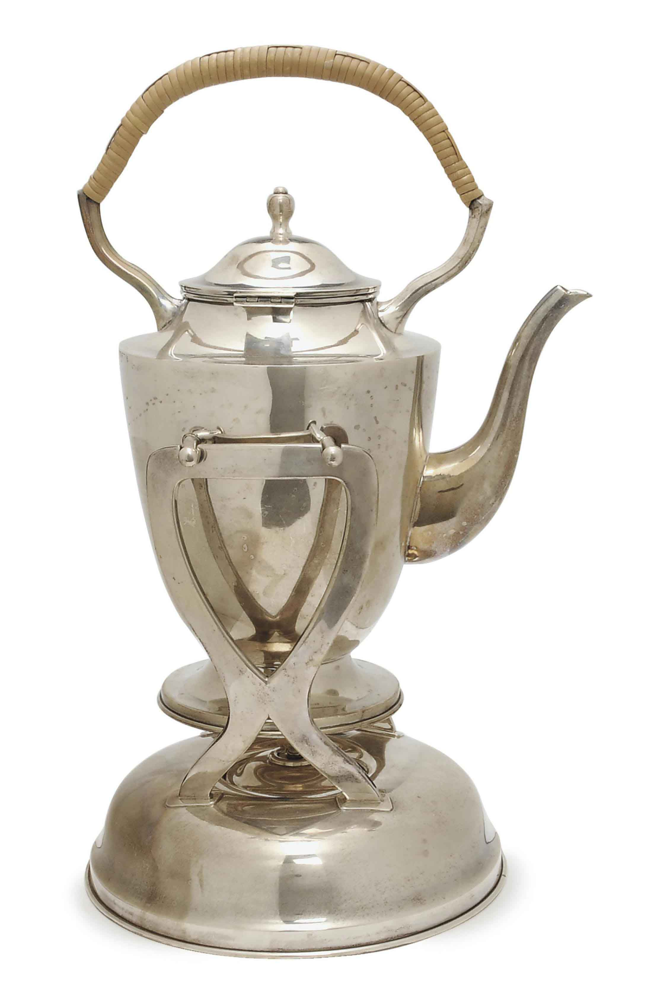 A MEXICAN SILVER HOT WATER KETTLE WITH HINGED COVER ON STAND,