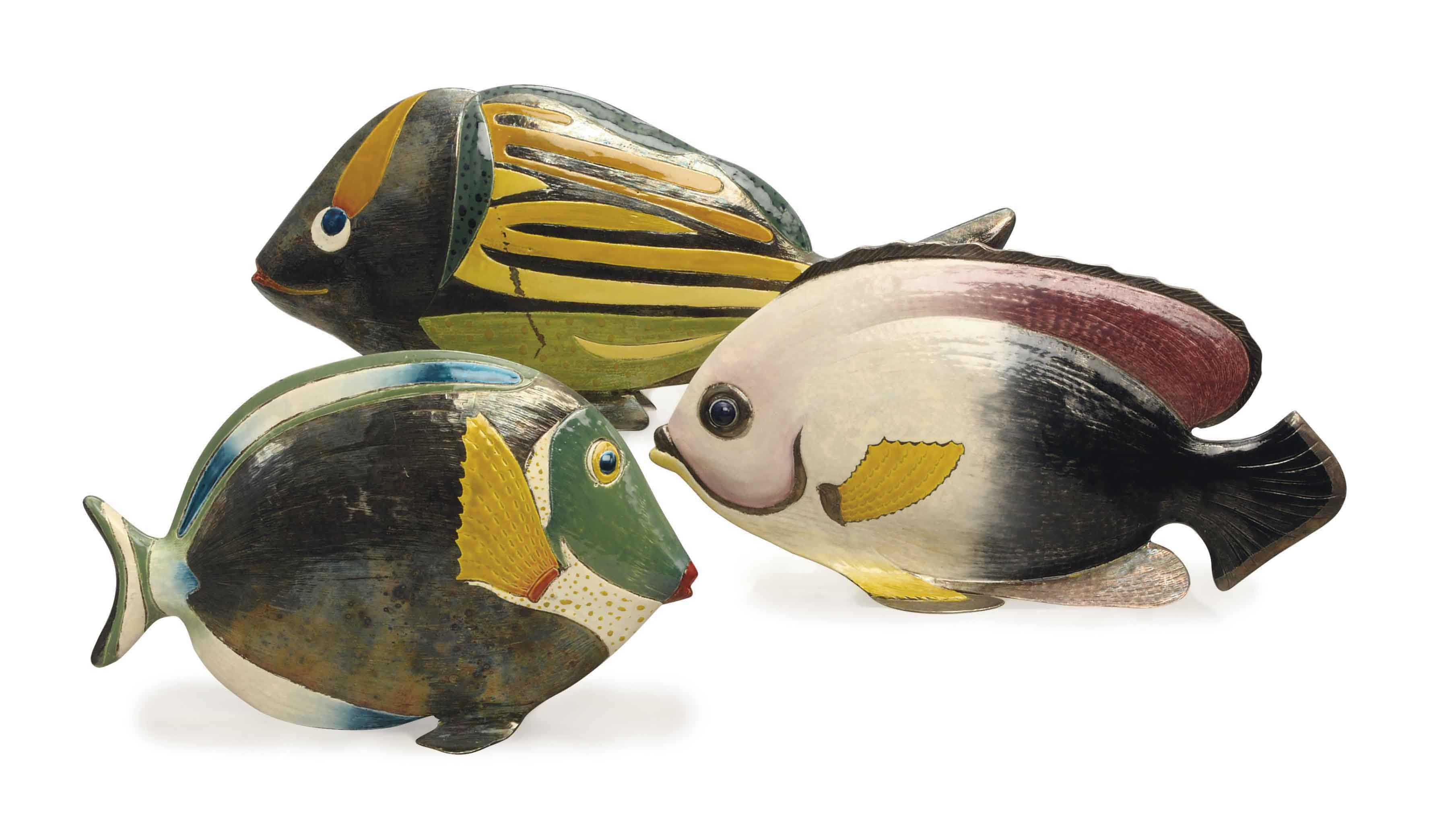 THREE ITALIAN ENAMELED SILVER MODELS OF FISH,
