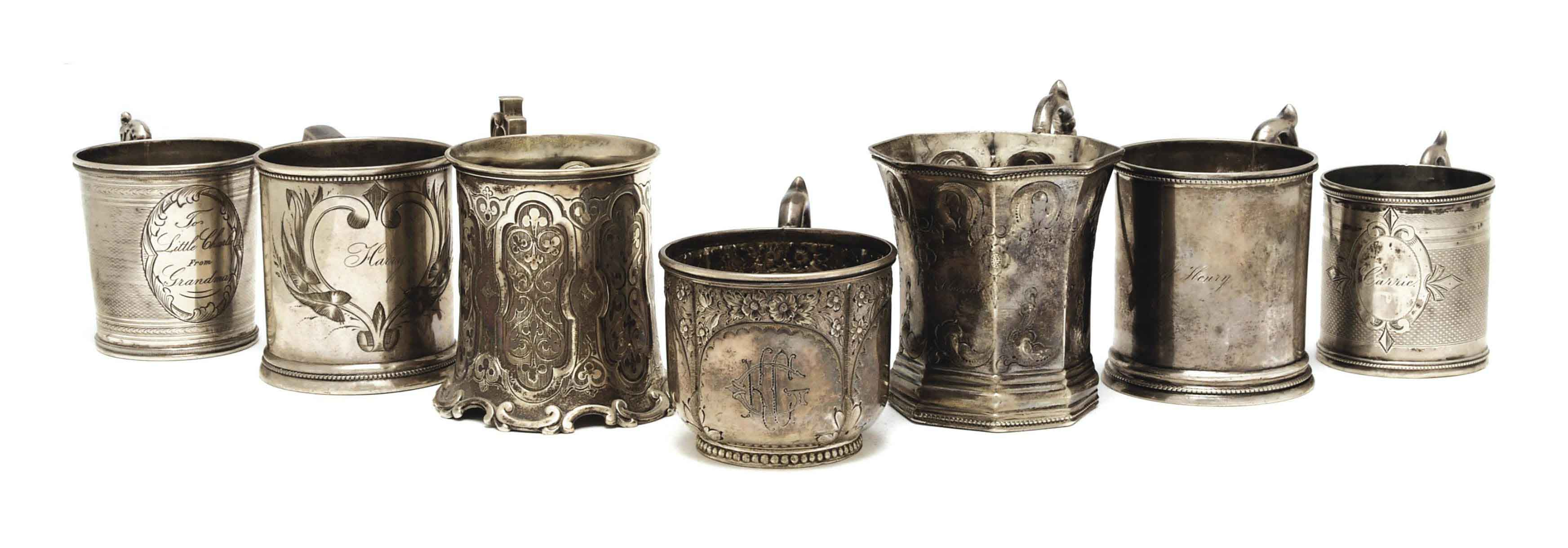 SIXTEEN AMERICAN SILVER CHRISTENING CUPS,