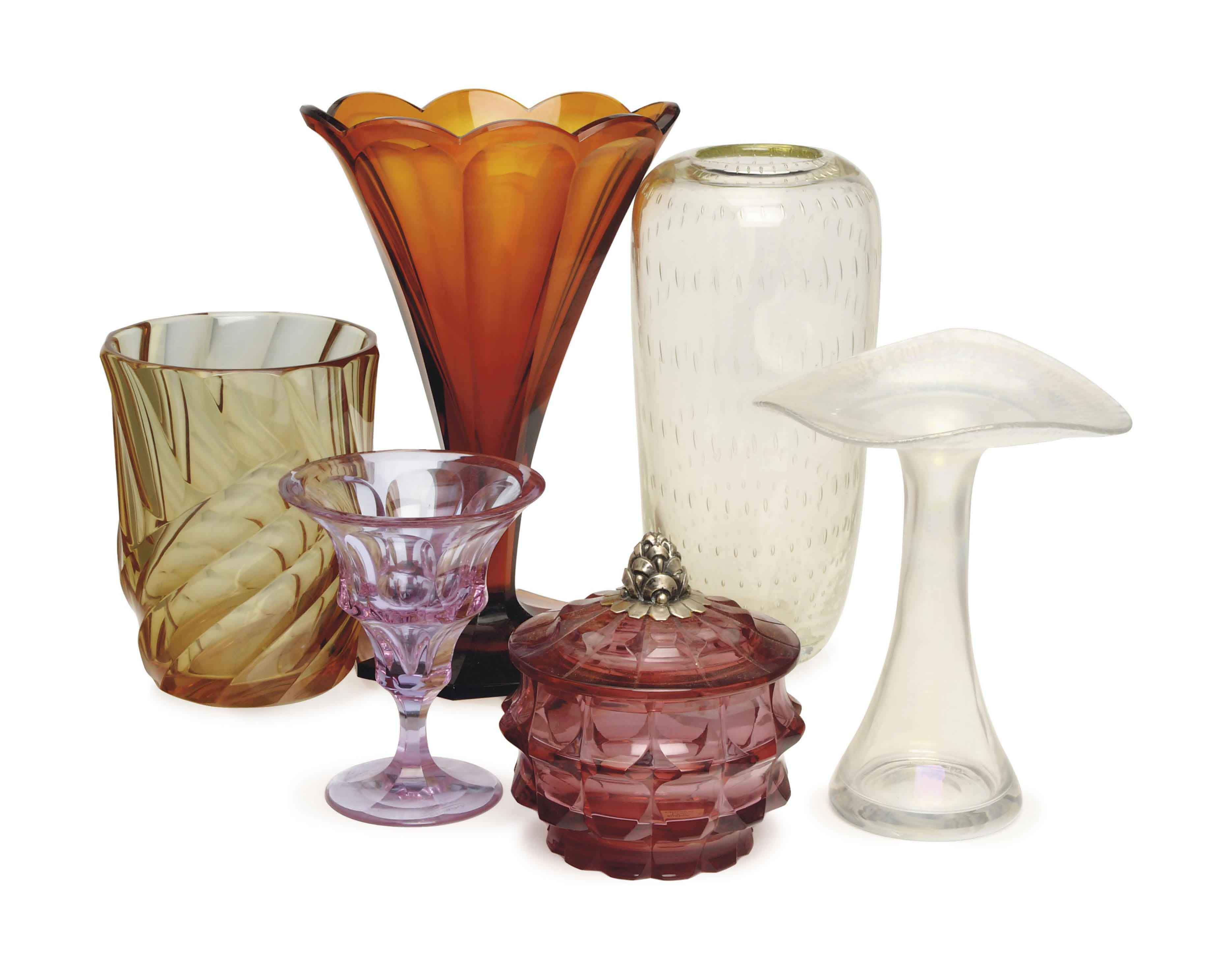 FOUR AUSTRIAN GLASS VESSELS AND TWO VASES,