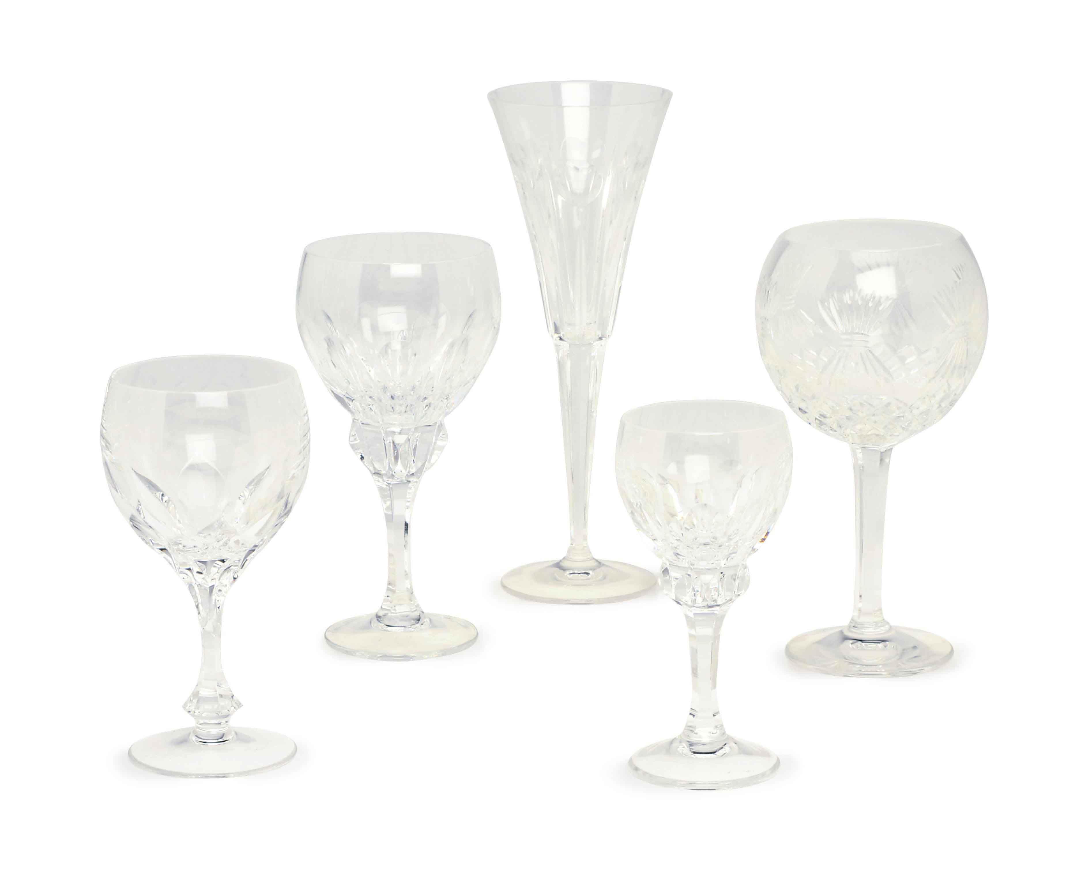 A GROUP OF CUT GLASS STEMWARE,