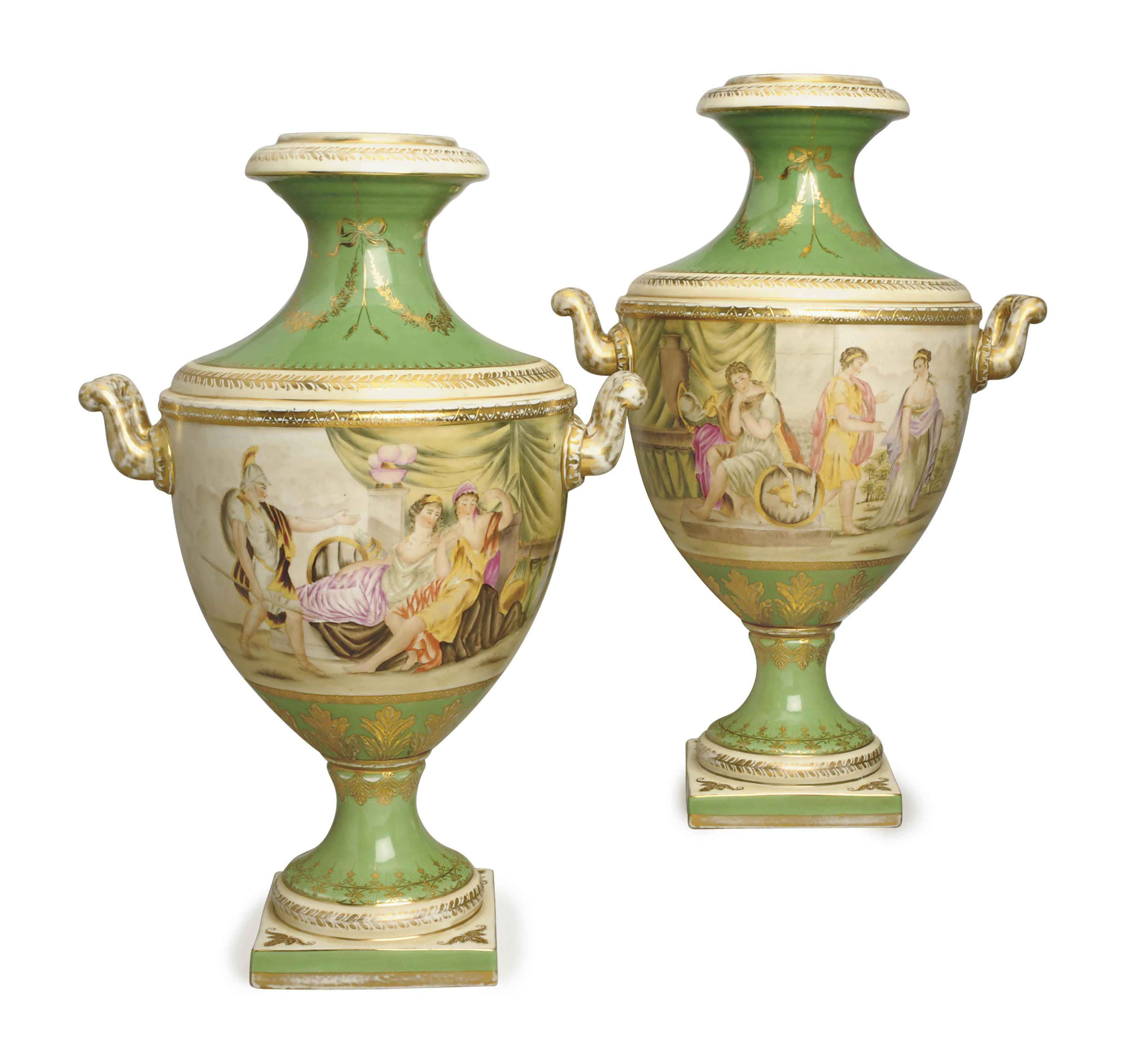 A PAIR OF APPLE GREEN GROUND VIENNA-STYLE VASES,