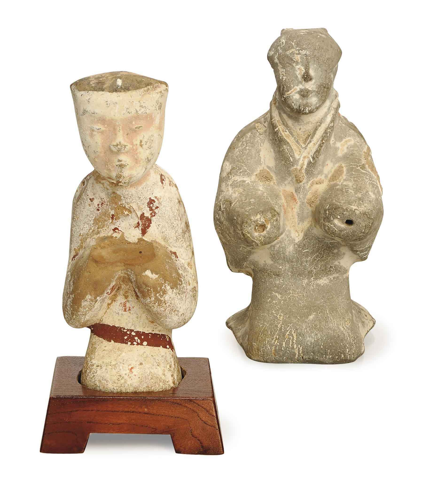 TWO CHINESE GREY PAINTED POTTERY FIGURES,