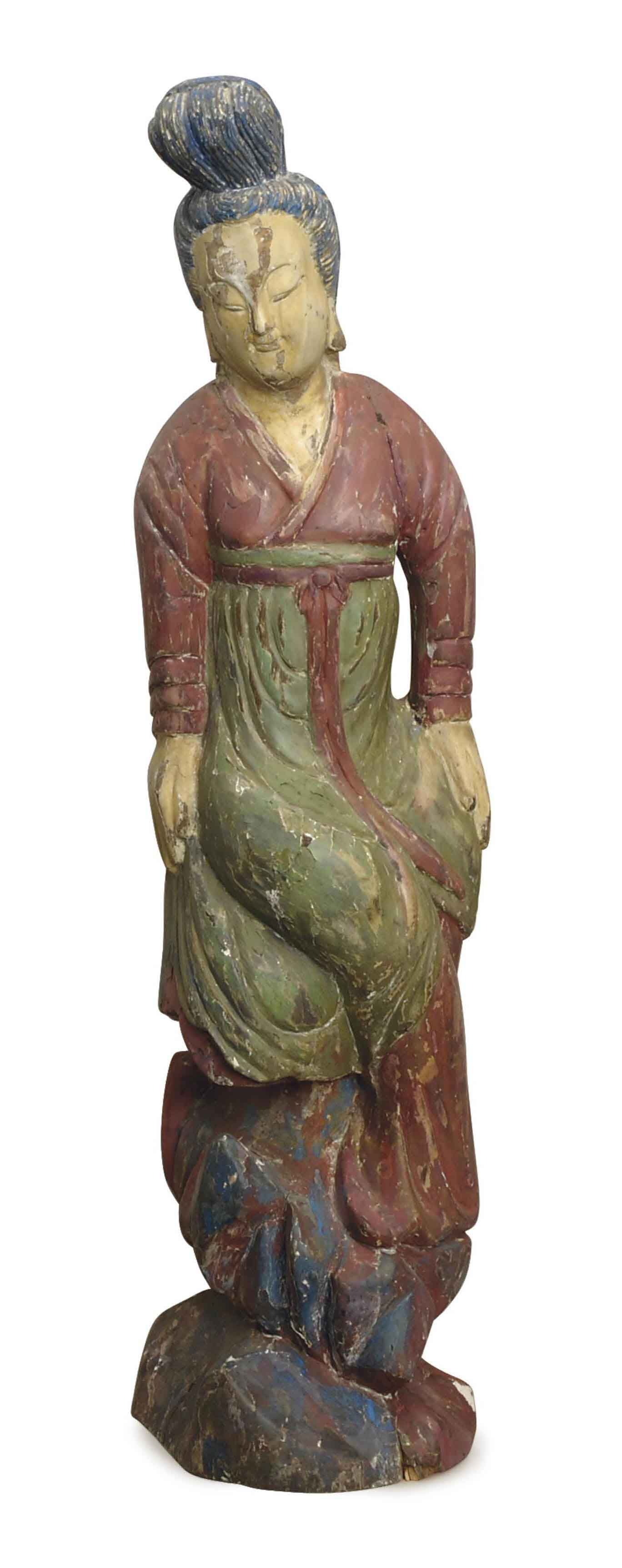 A CHINESE PAINTED WOOD FIGURE OF A LADY,