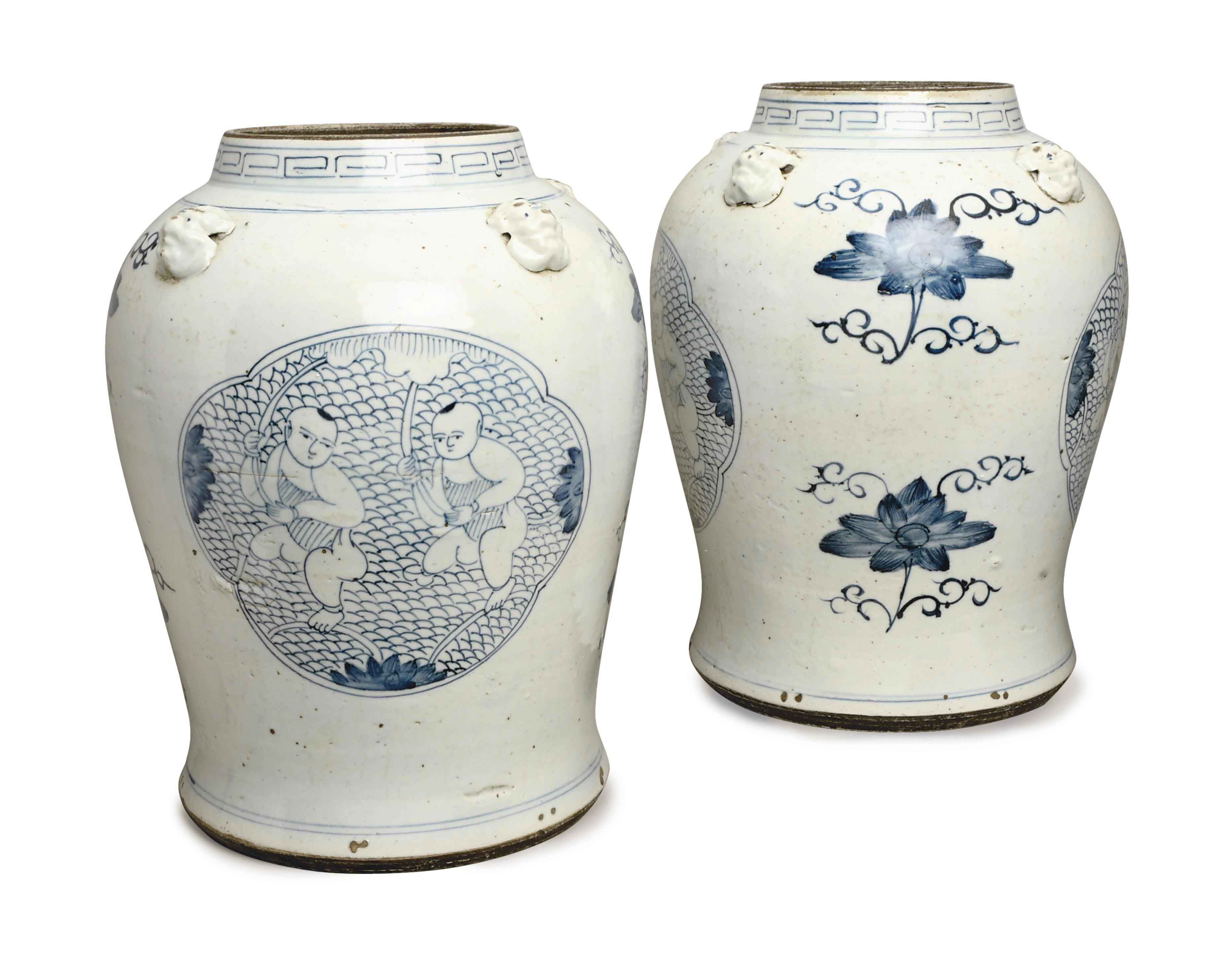 A PAIR OF LARGE CHINESE PORCELAIN JARS WITH LION MASK HANDLES,