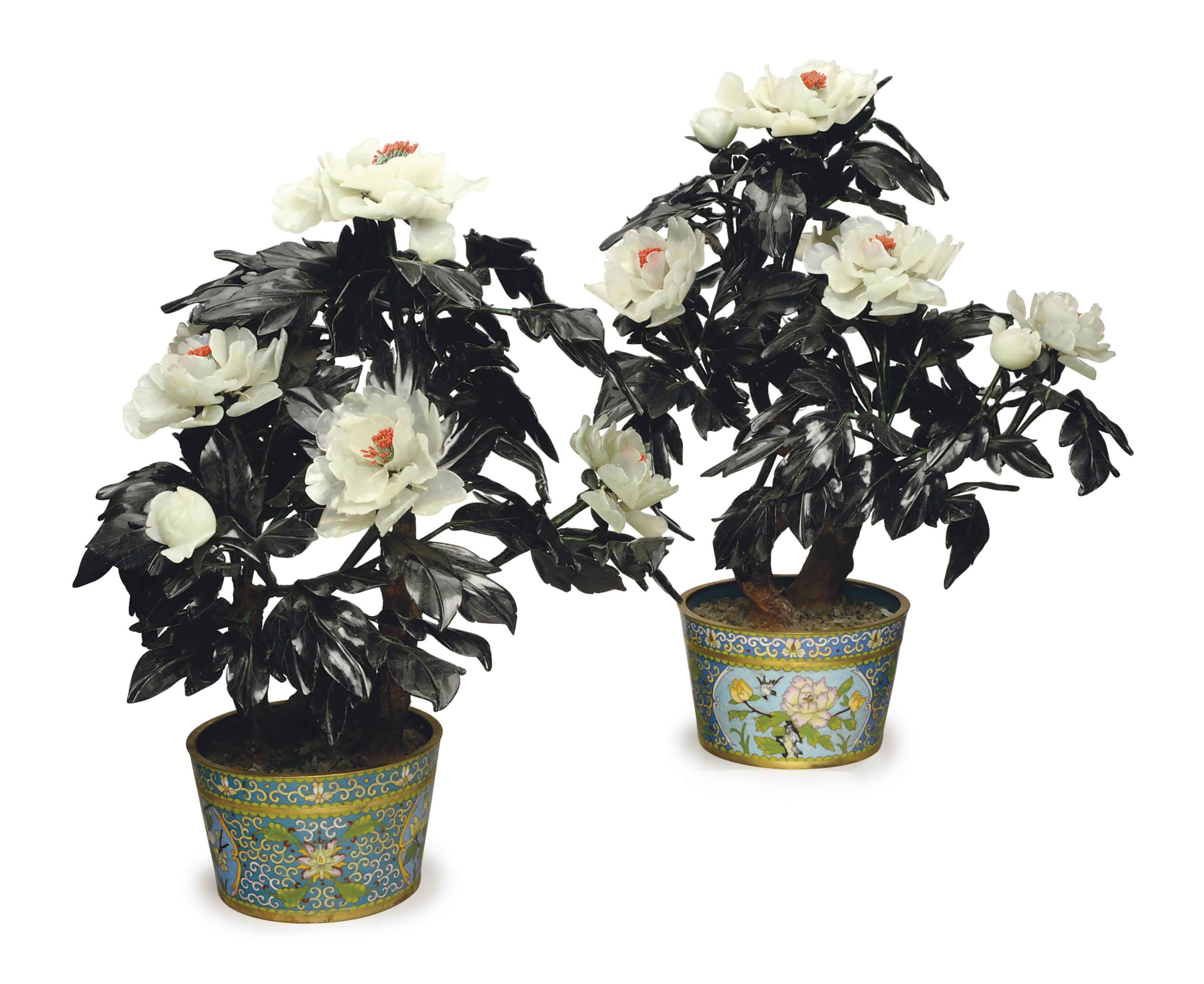 A PAIR OF CHINESE HARDSTONE TREES IN CLOISONNE JARDINIERES,