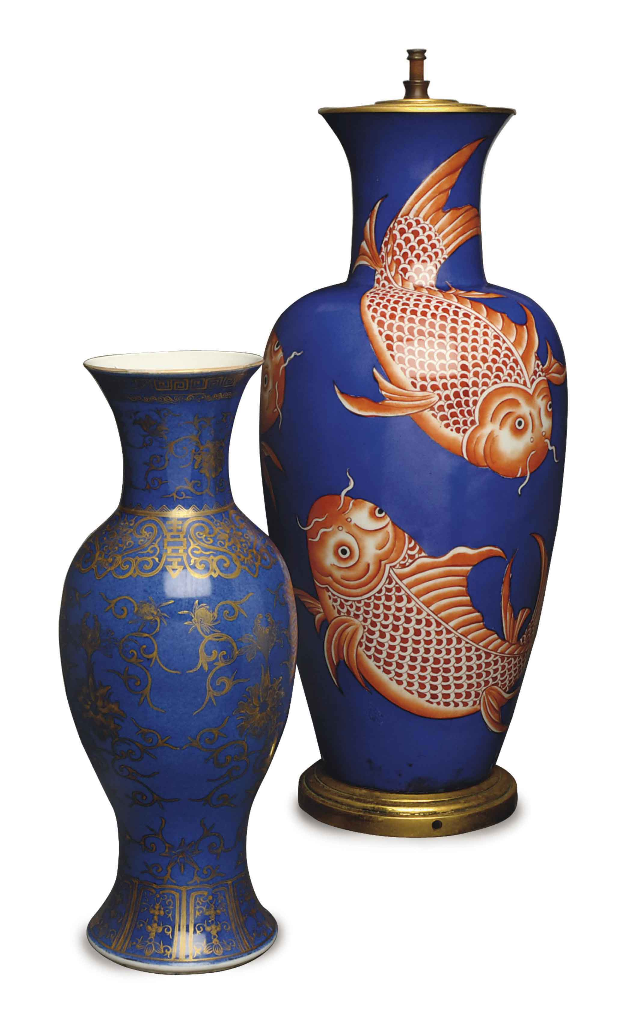 A CHINESE GILT BLUE GROUND BALUSTER VASE, AND A BLUE GROUND VASE DECORATED WITH KOI MOUNTED AS A LAMP,