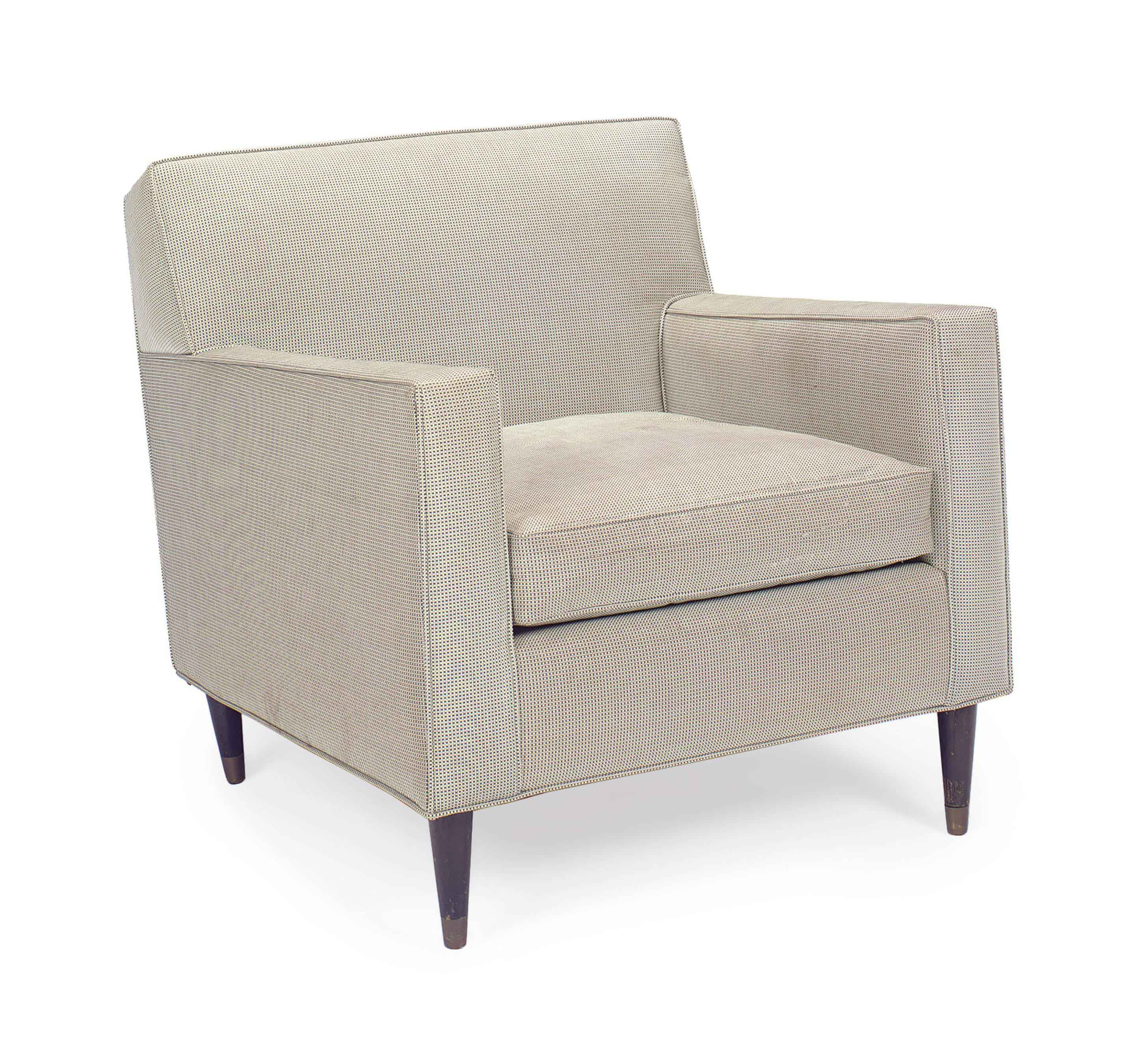A BEIGE AND BLACK WOVEN CHECK-UPHOLSTERED 'SENIAH' CHAIR,