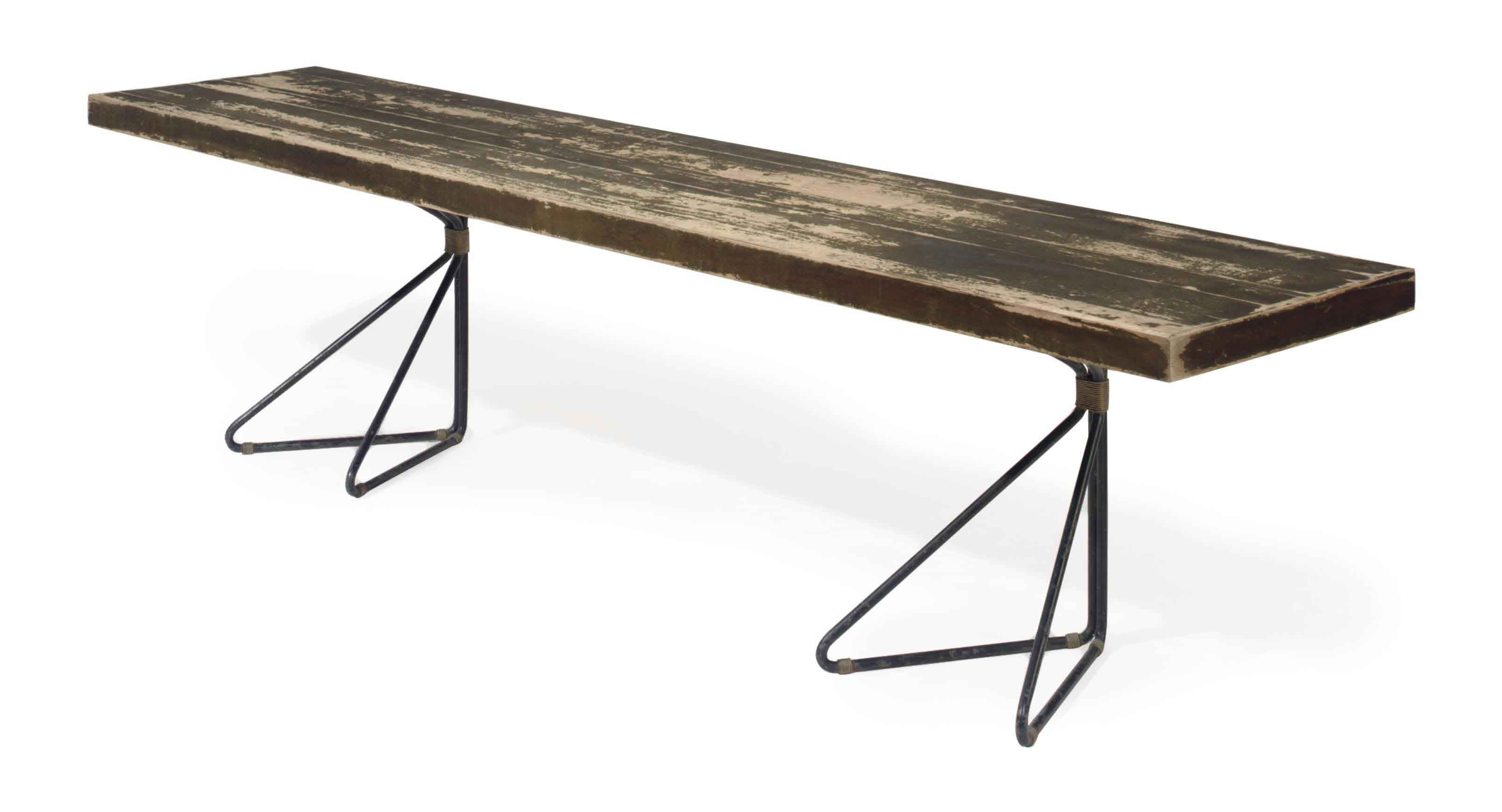 A GILT AND EBONIZED TUBULAR-METAL MAHOGANY CONSOLE TABLE,