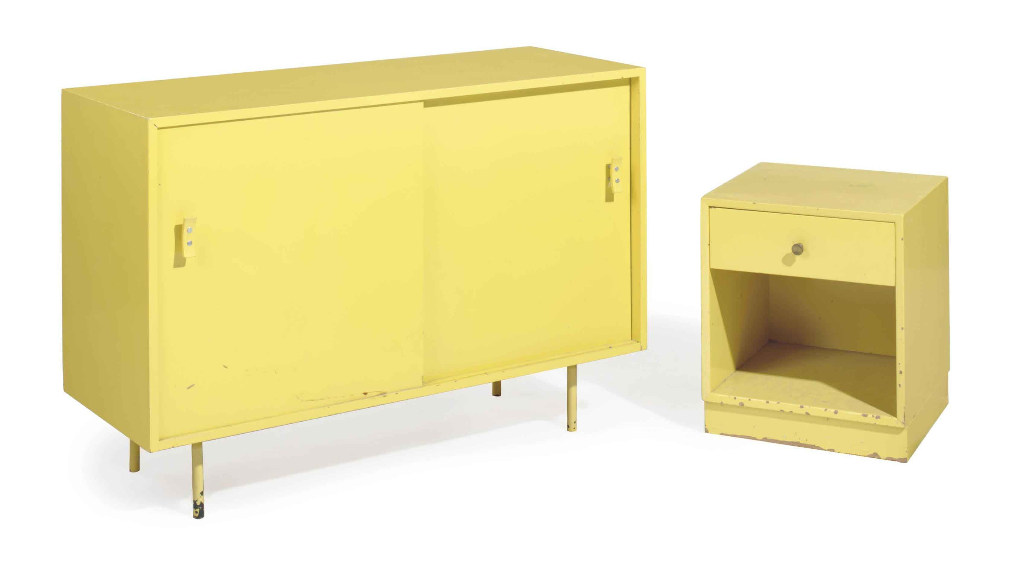 A YELLOW PAINTED SIDE CABINET,