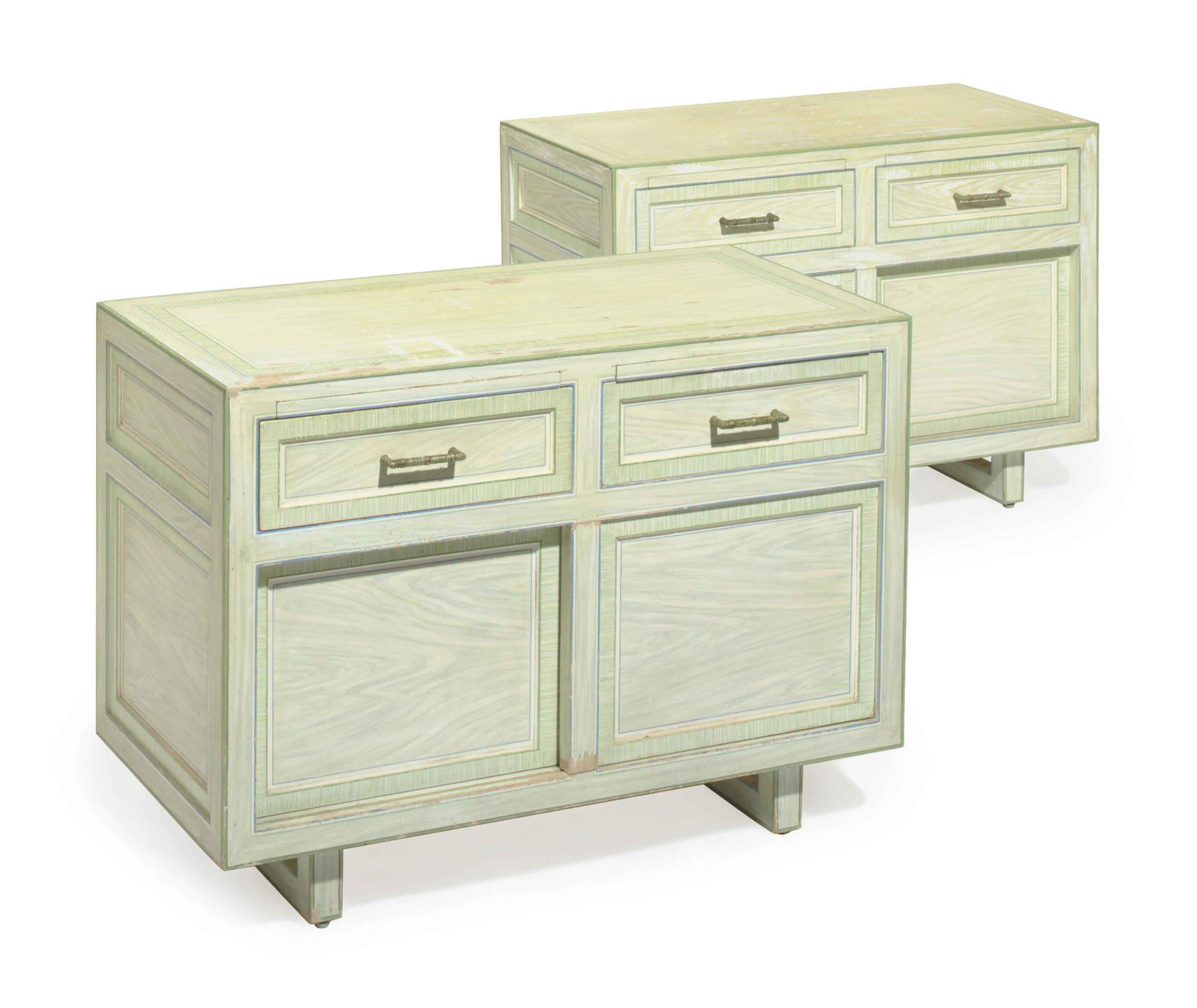 A PAIR OF GREEN GRAIN-PAINTED SIDE CABINETS,