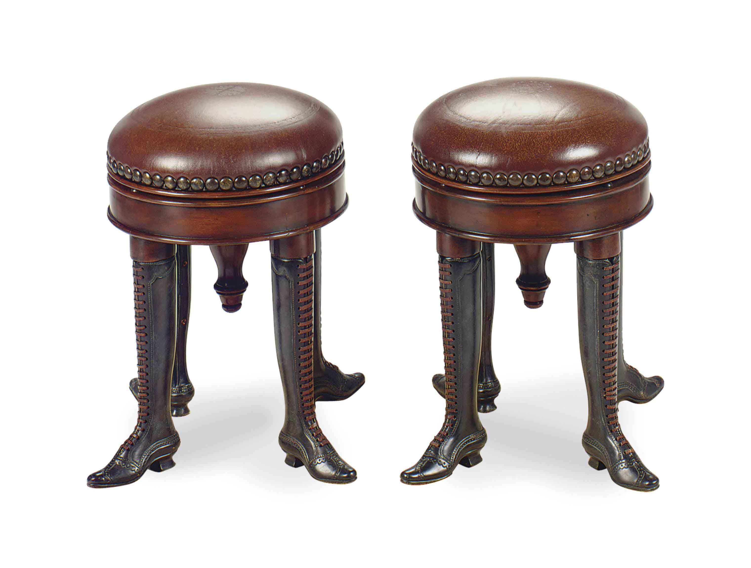 A PAIR OF PATINATED-BRONZE, WALNUT AND LEATHER PIANO STOOLS,