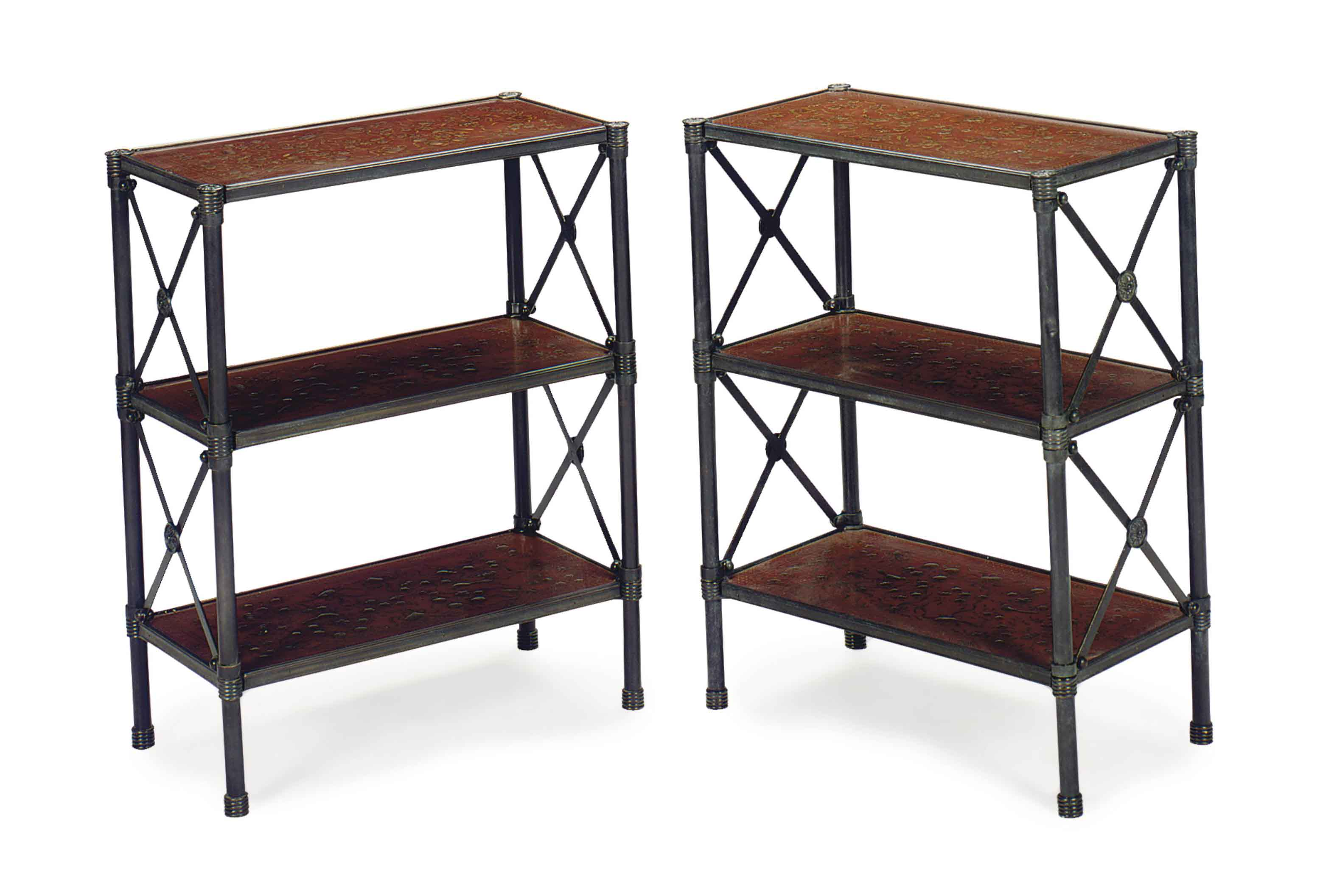 A PAIR OF PATINATED-METAL, RED AND GILT-DECORATED THREE-TIER ETAGERES,