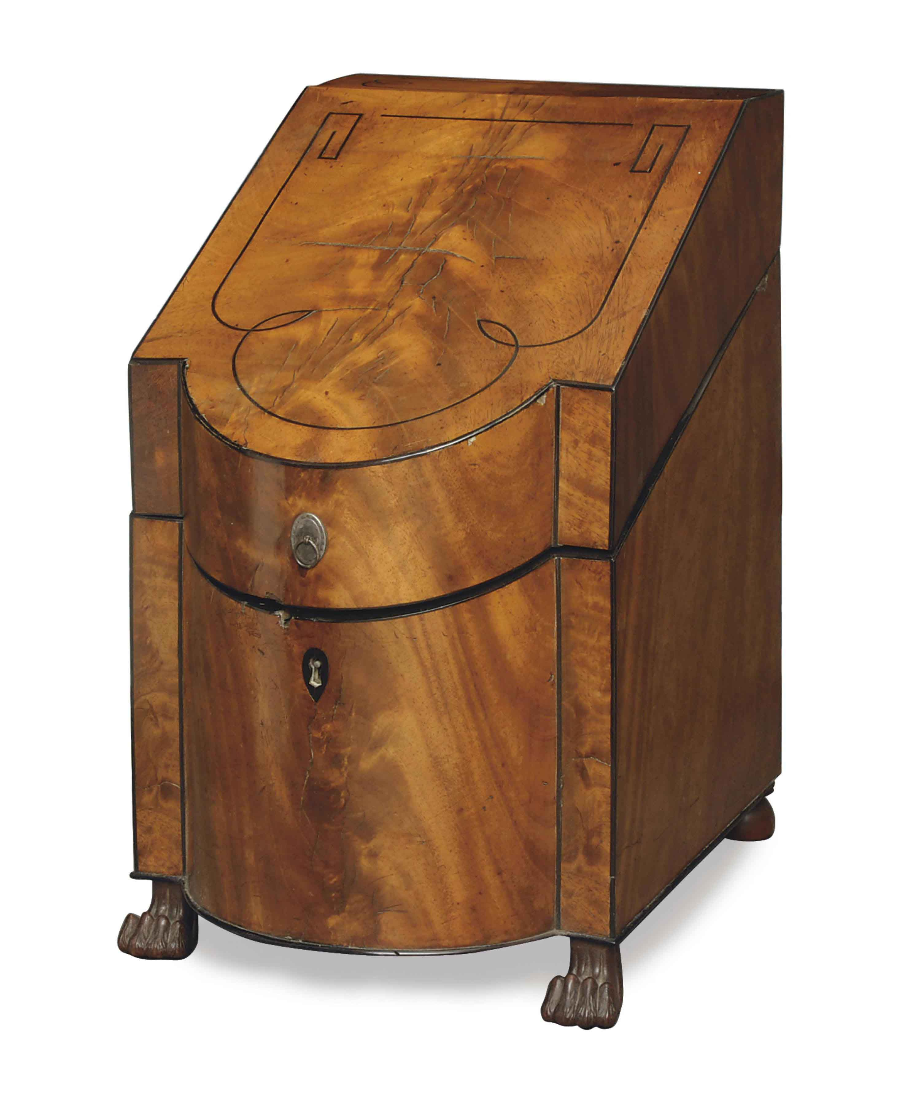 A REGENCY INLAID MAHOGANY CUTLERY BOX,