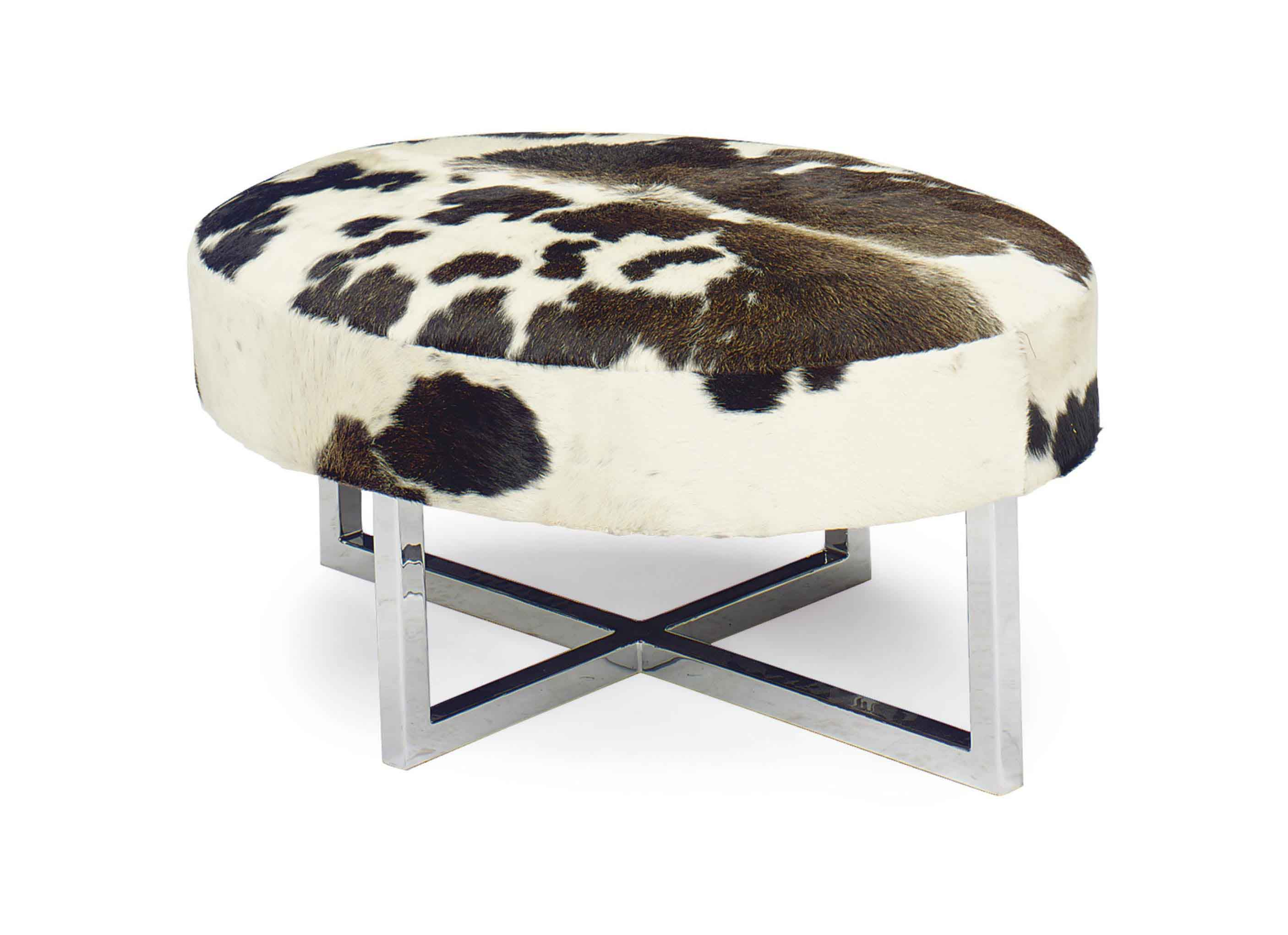 A CHROMED METAL AND PONYSKIN UPHOLSTERED OVAL BENCH,