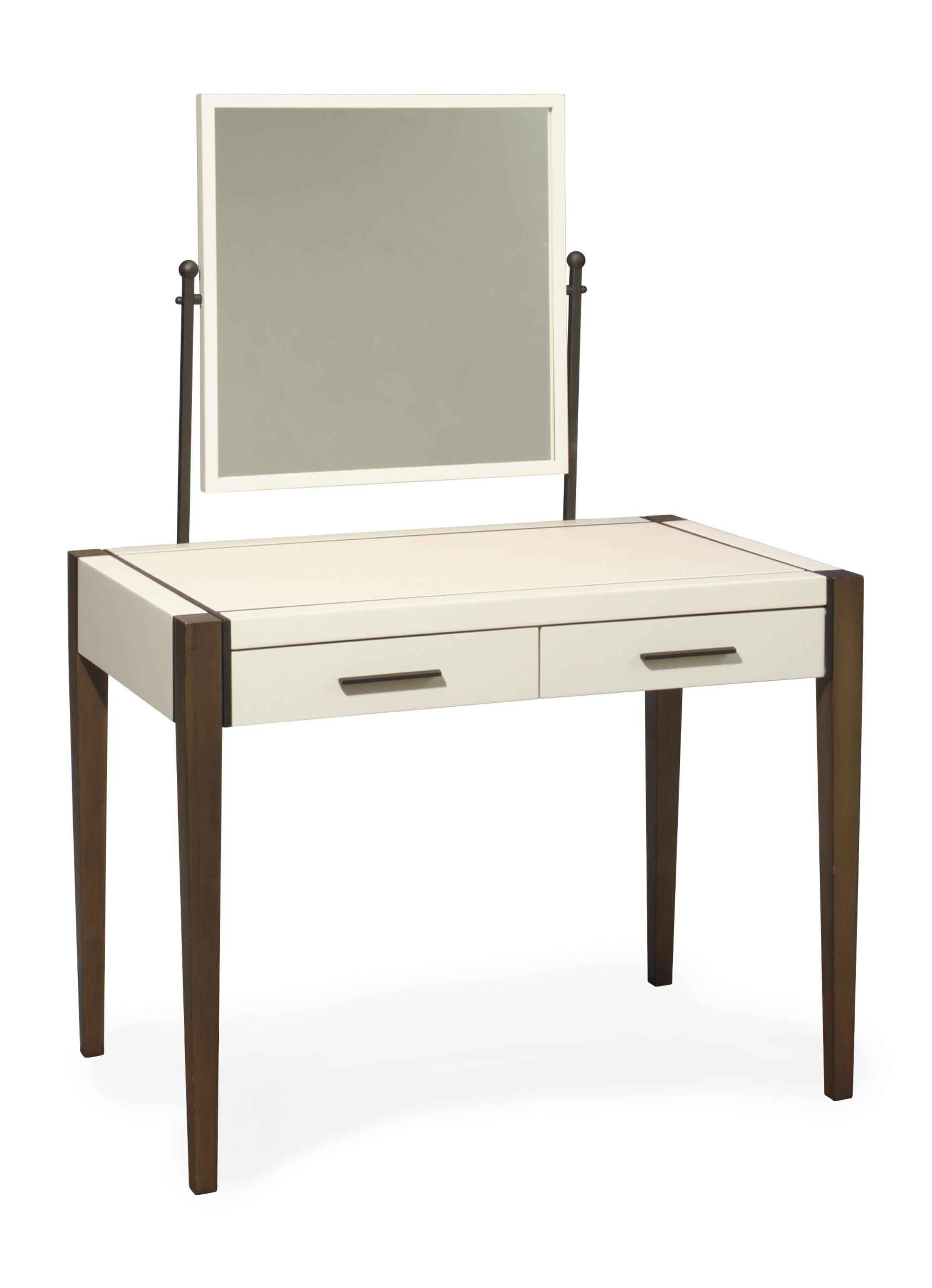A CONTEMPORARY PATINATED-METAL MOUNTED STAINED WOOD AND WHITE-LACQUERED VANITY,