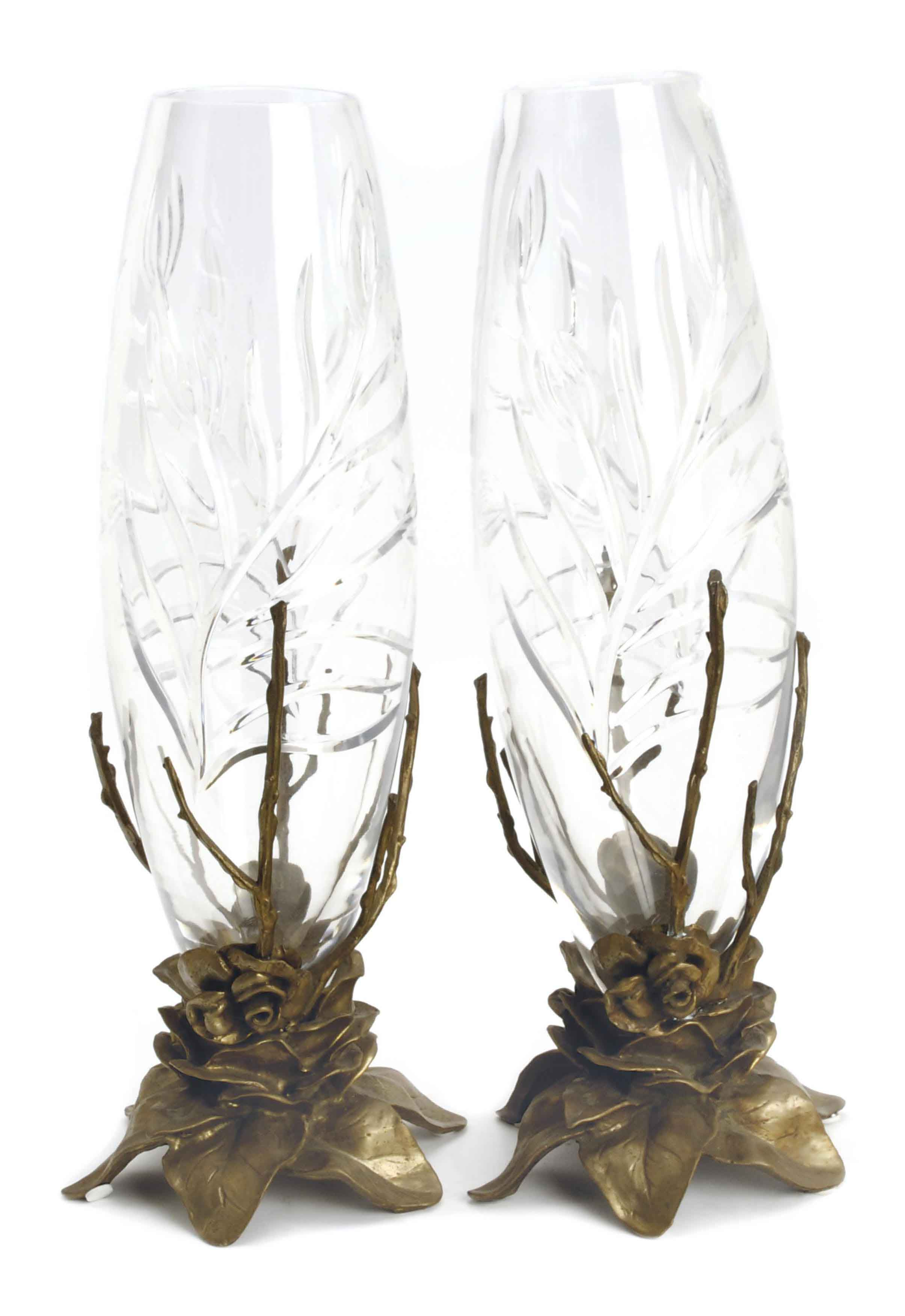 A PAIR OF CUT GLASS AND GILT METAL VASES,