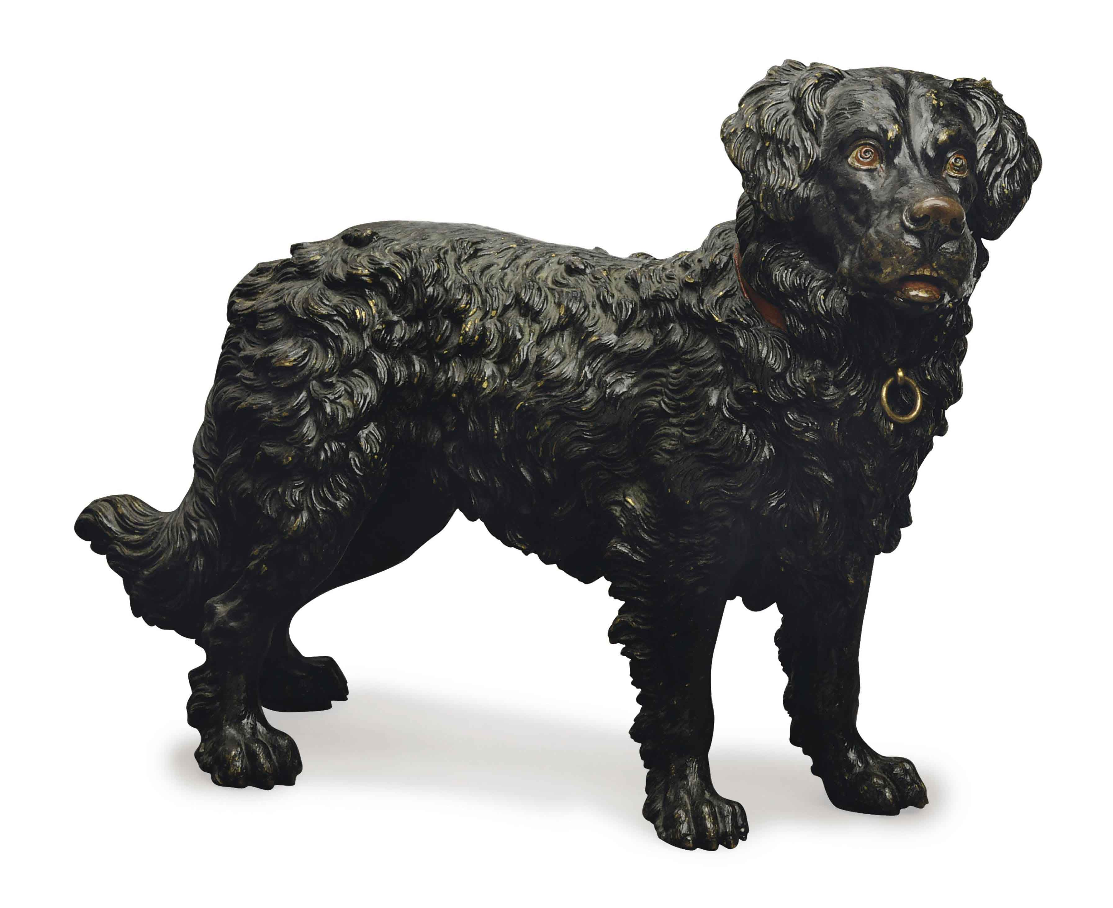 A COLD-PAINTED BRONZE FIGURE OF A NEWFOUNDLAND,