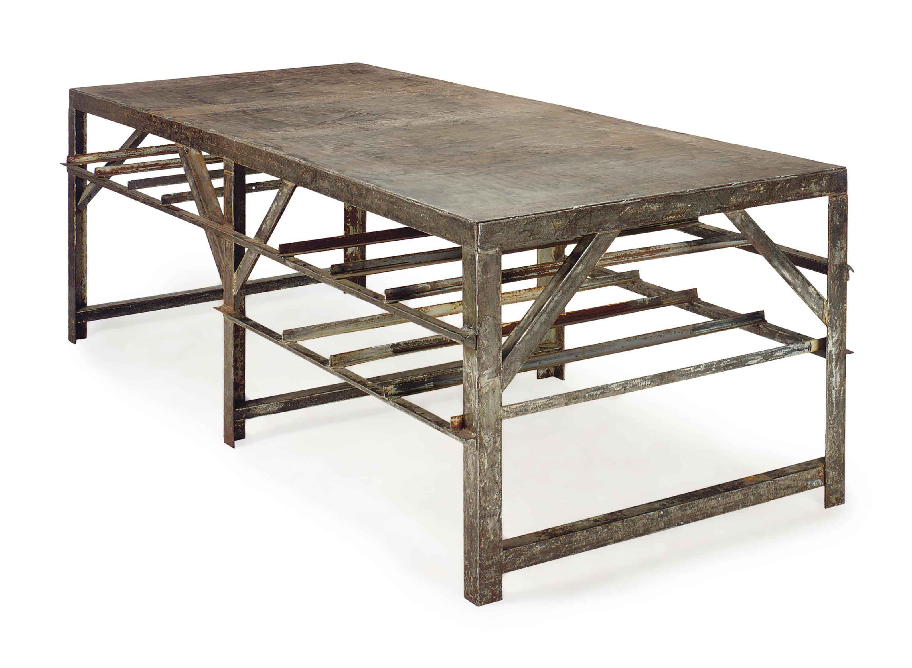 A FRENCH INDUSTRIAL STEEL LONG WORK TABLE,