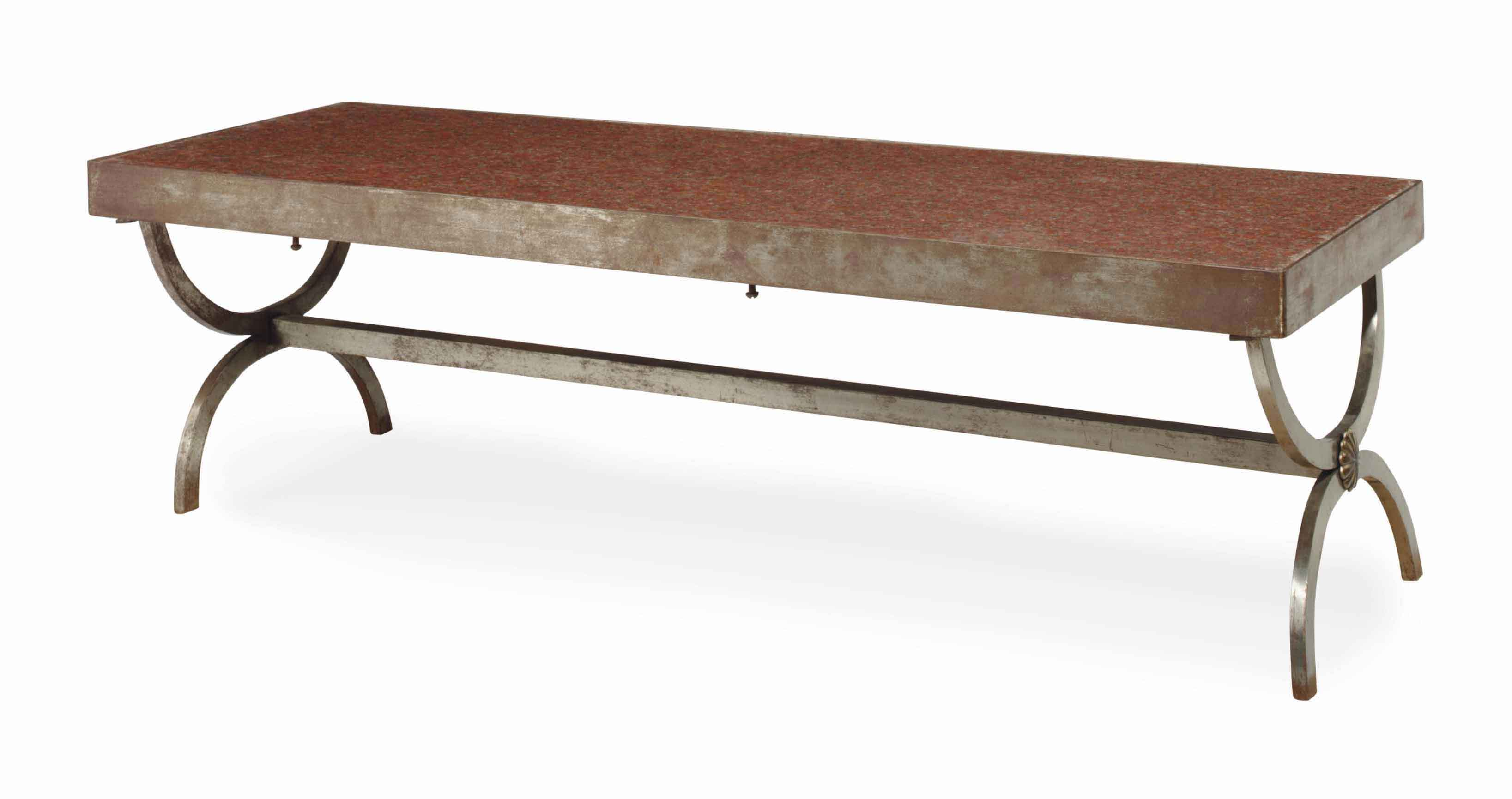 A FRENCH WROUGHT-IRON AND MARBLE-TOP LOW TABLE,