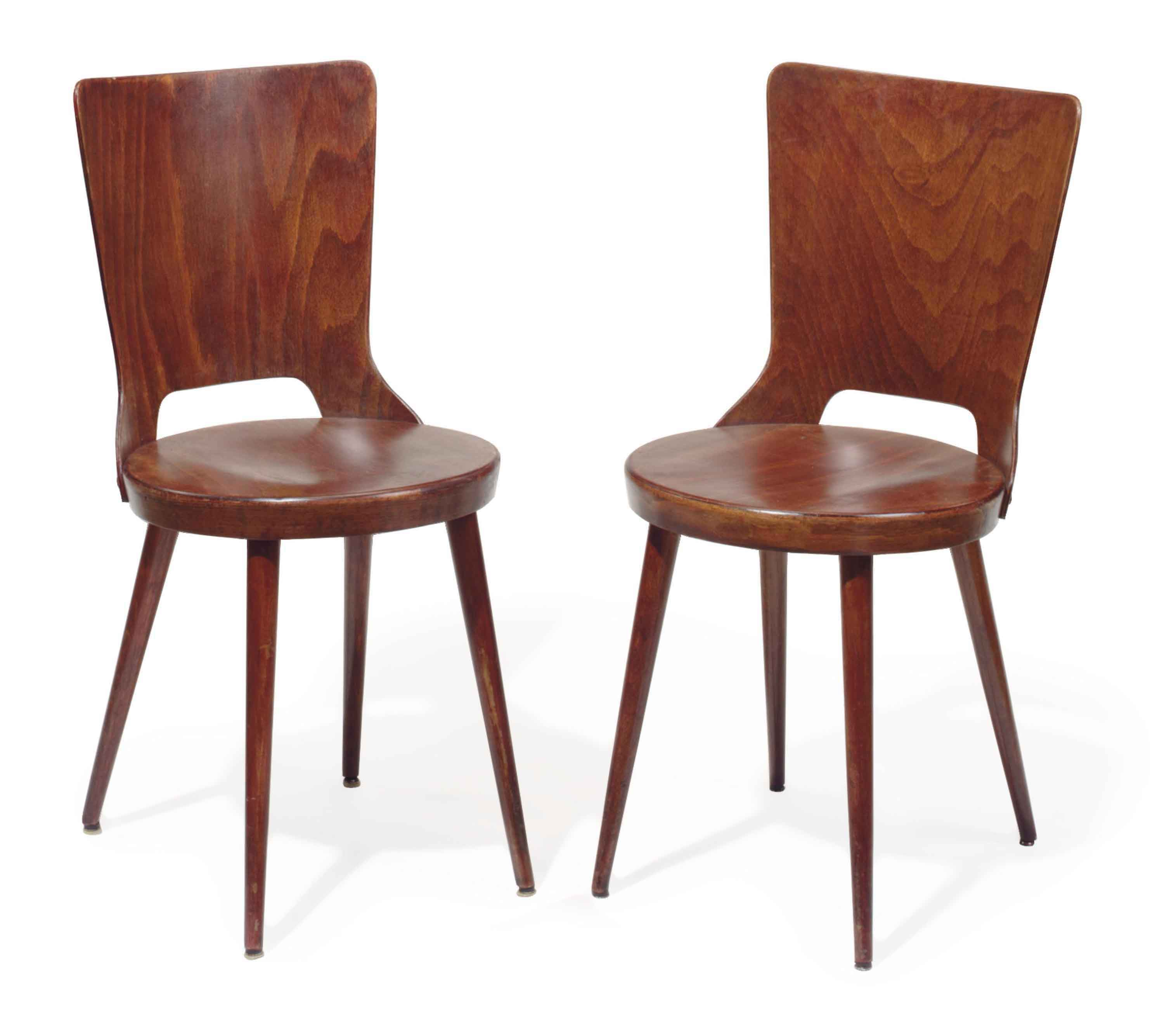 A PAIR OF STAINED OAK BISTRO CHAIRS,