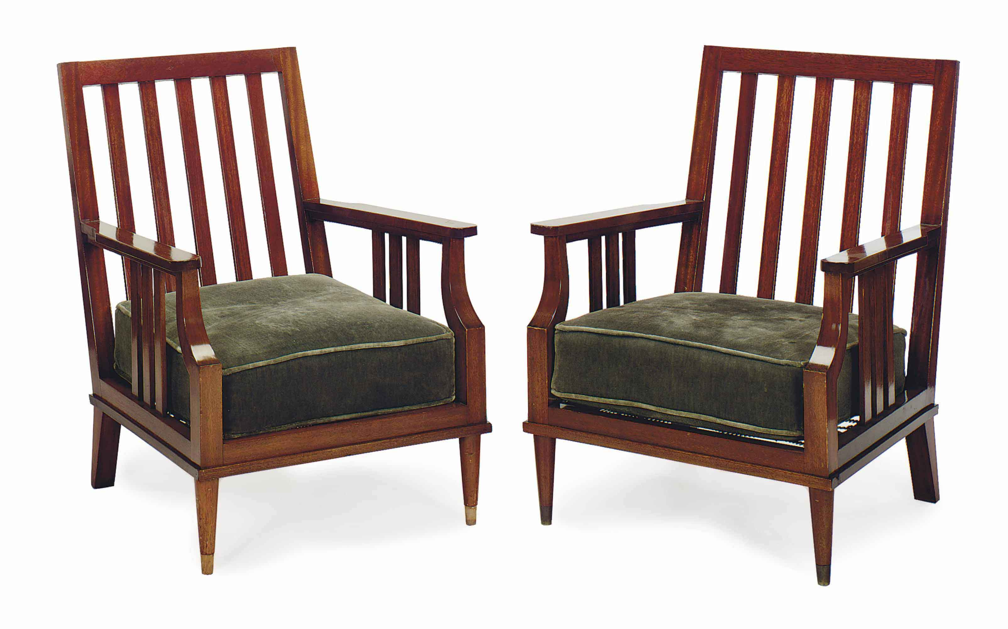 A PAIR OF FRENCH MAHOGANY ARMCHAIRS,