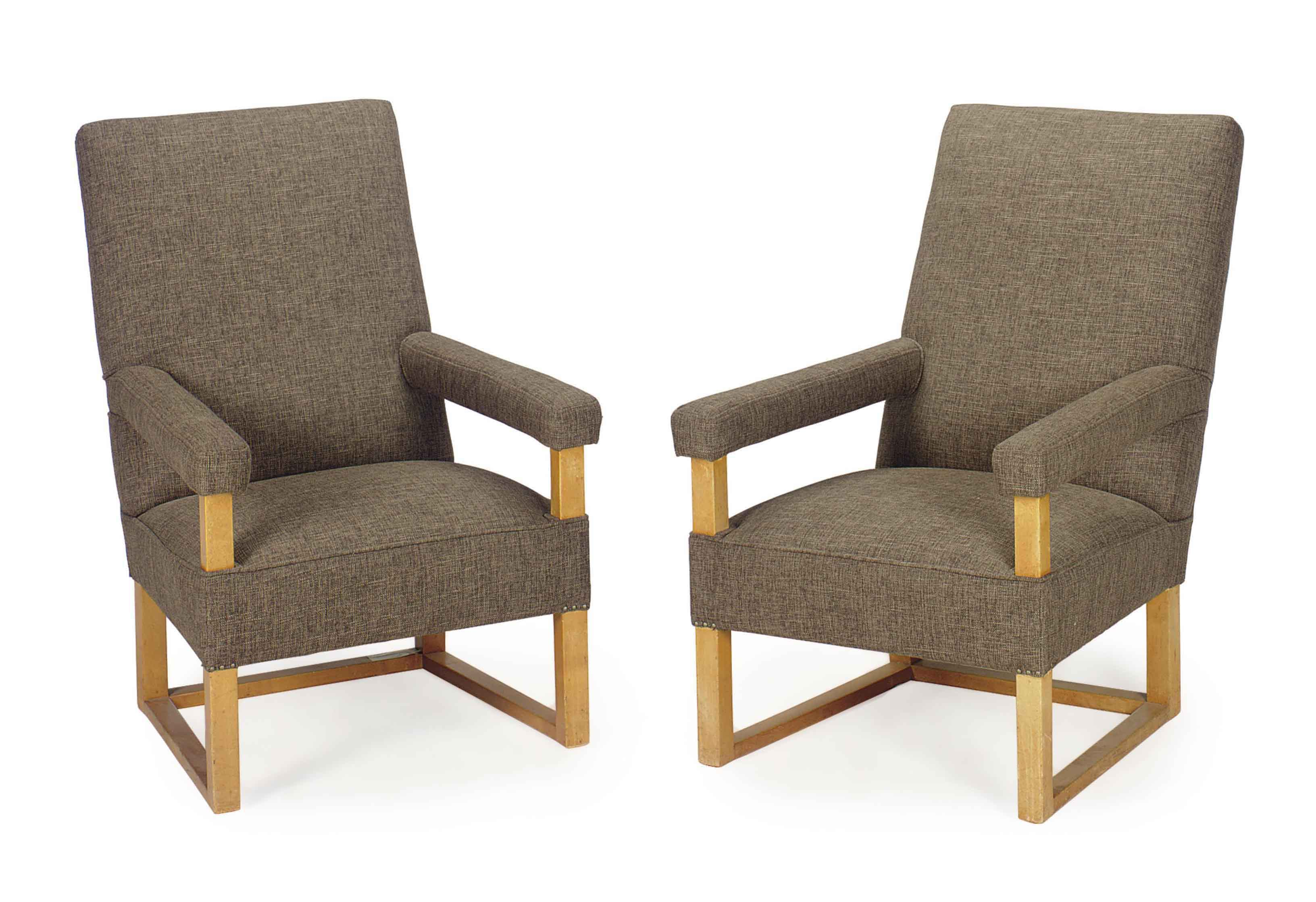 A PAIR OF FRENCH OAK AND GREY UPHOLSTERED FAUTEUILS,