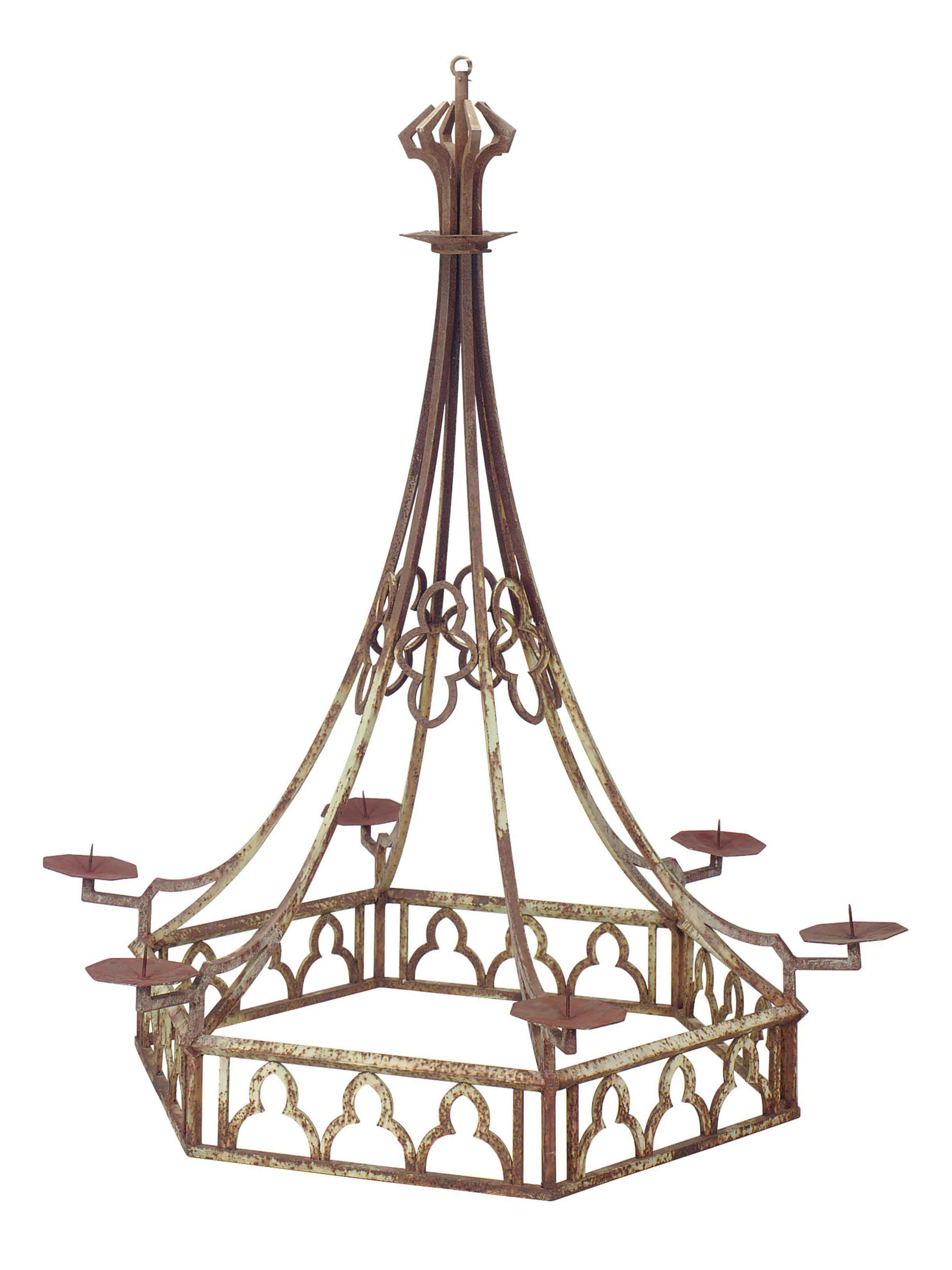 A MONUMENTAL FRENCH PAINTED WROUGHT IRON SIX-LIGHT CHANDELIER,
