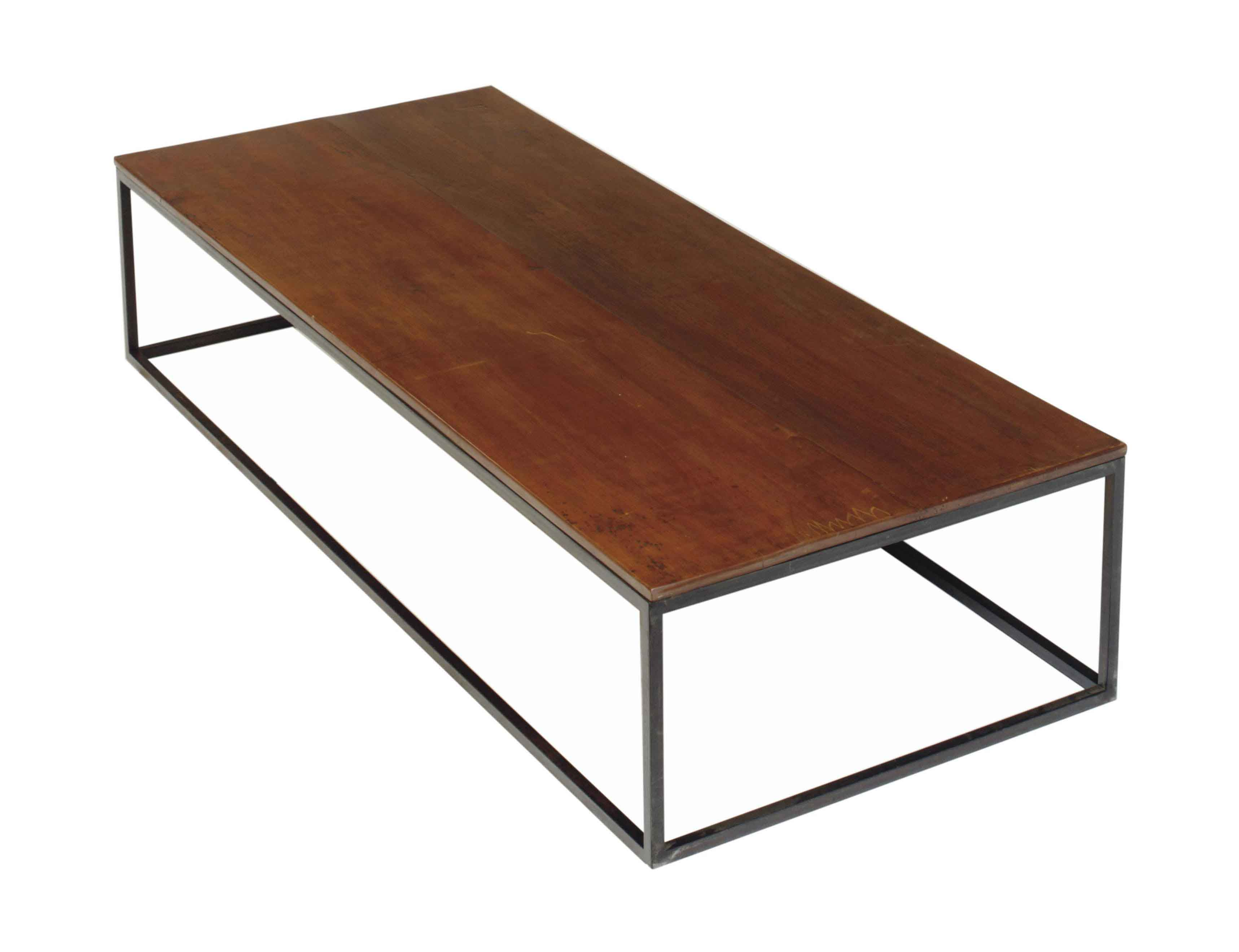AN IRON AND WALNUT LOW TABLE,