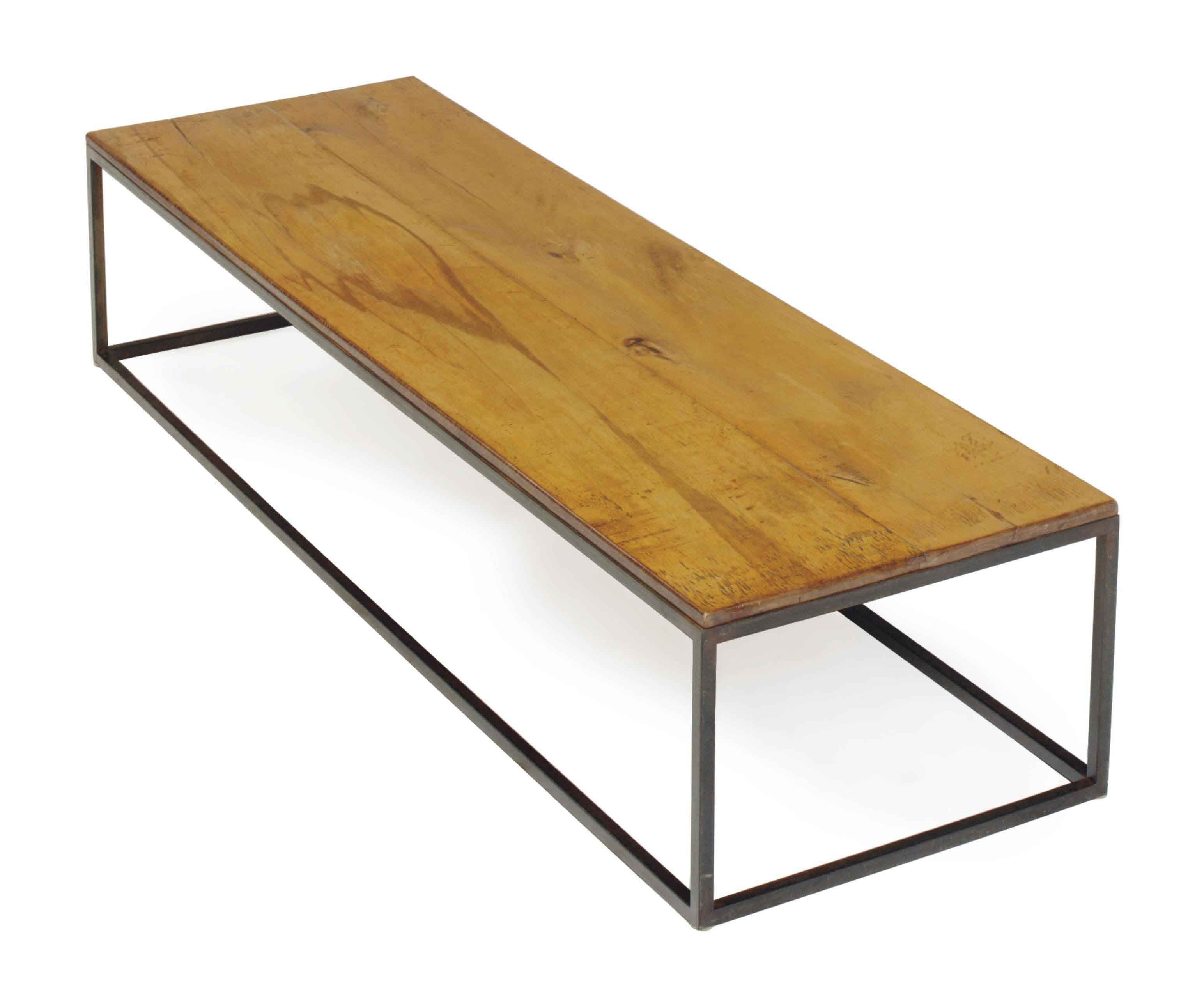 A CHERRY AND WROUGHT IRON LOW TABLE,