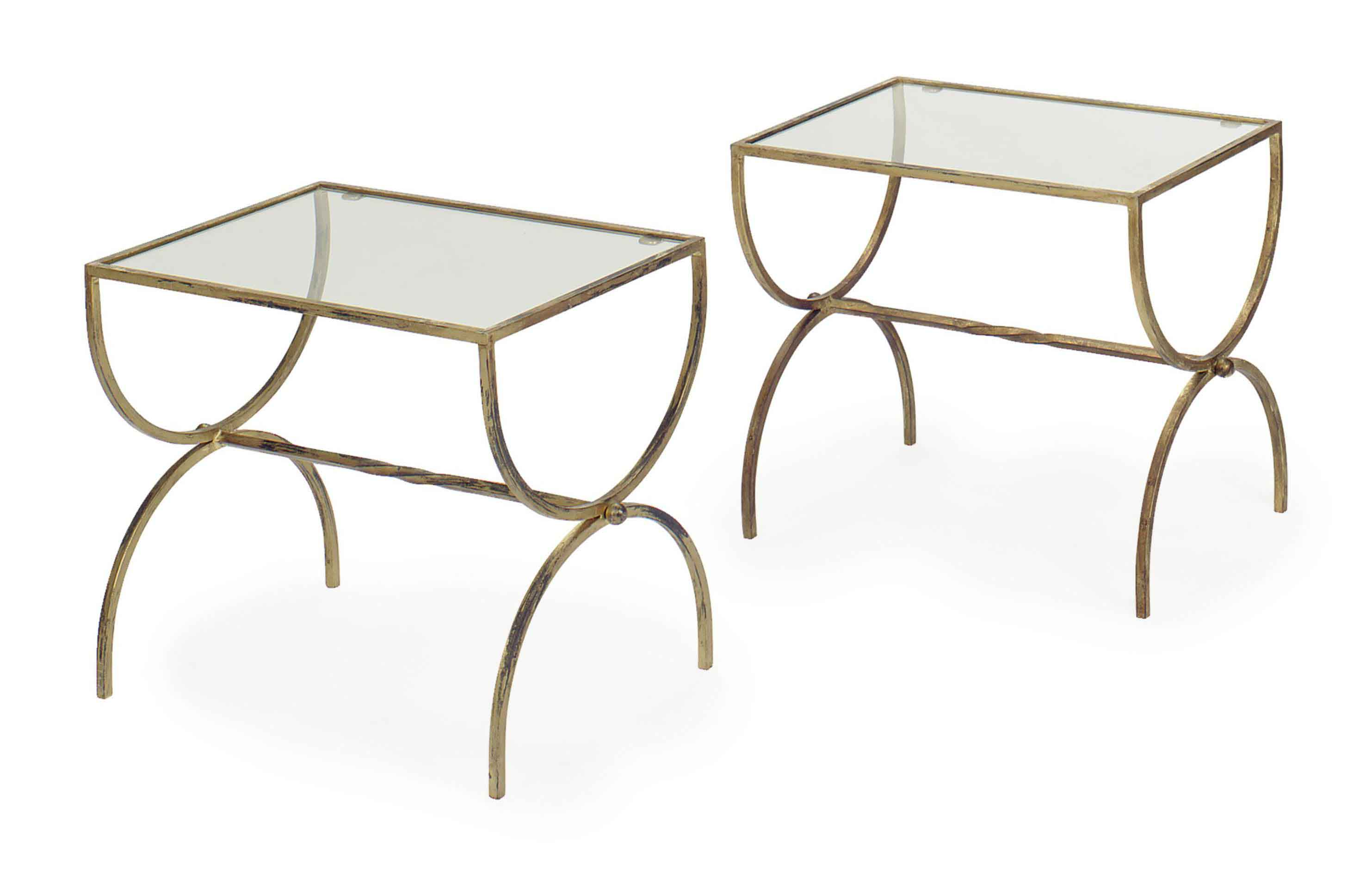 A PAIR OF SPANISH GILT-METAL AND GLASS LOW TABLES,