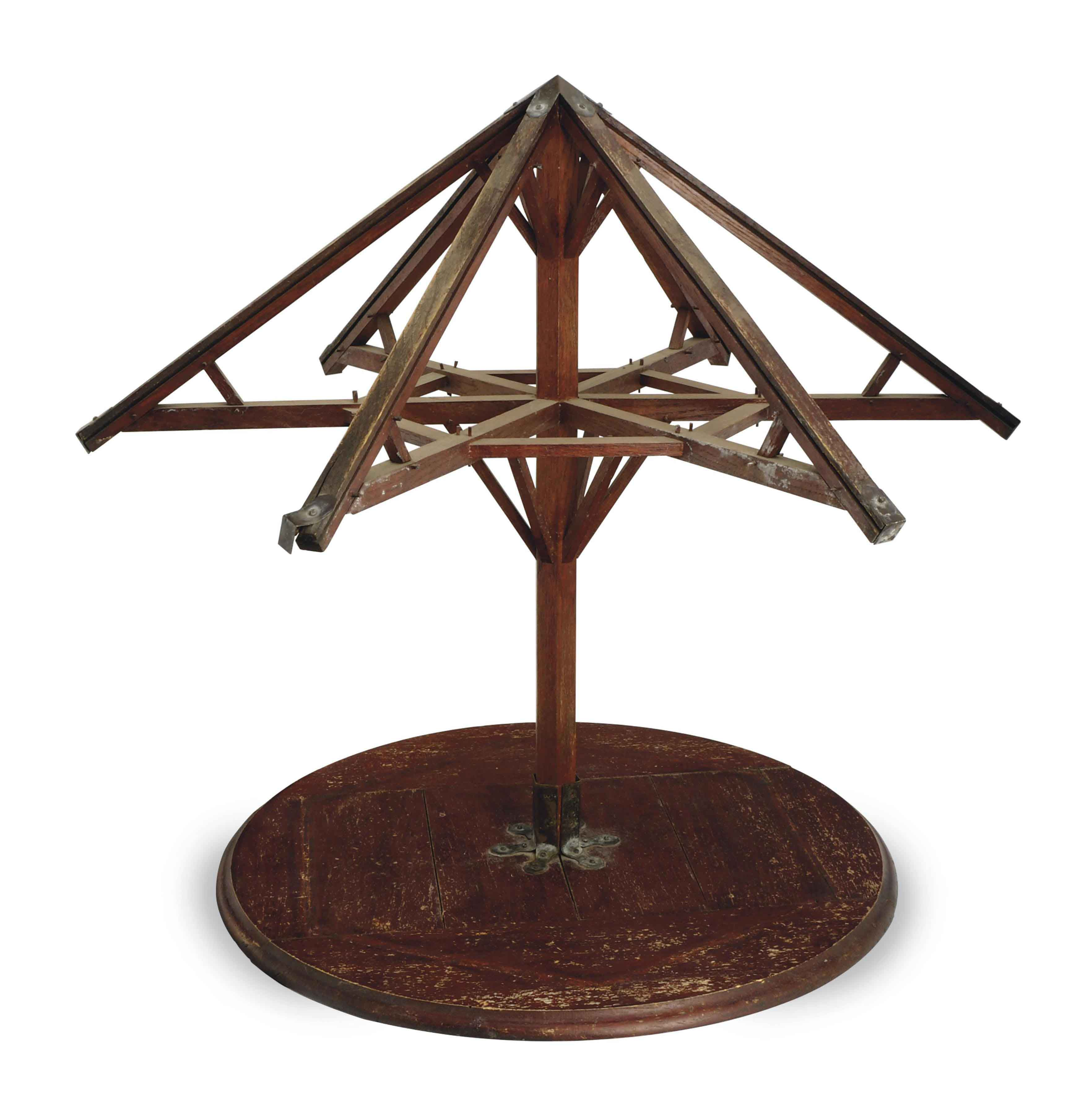 A FRENCH METAL-MOUNTED RED-PAINTED OAK ARCHITECTURAL MODEL OF A ROOF,