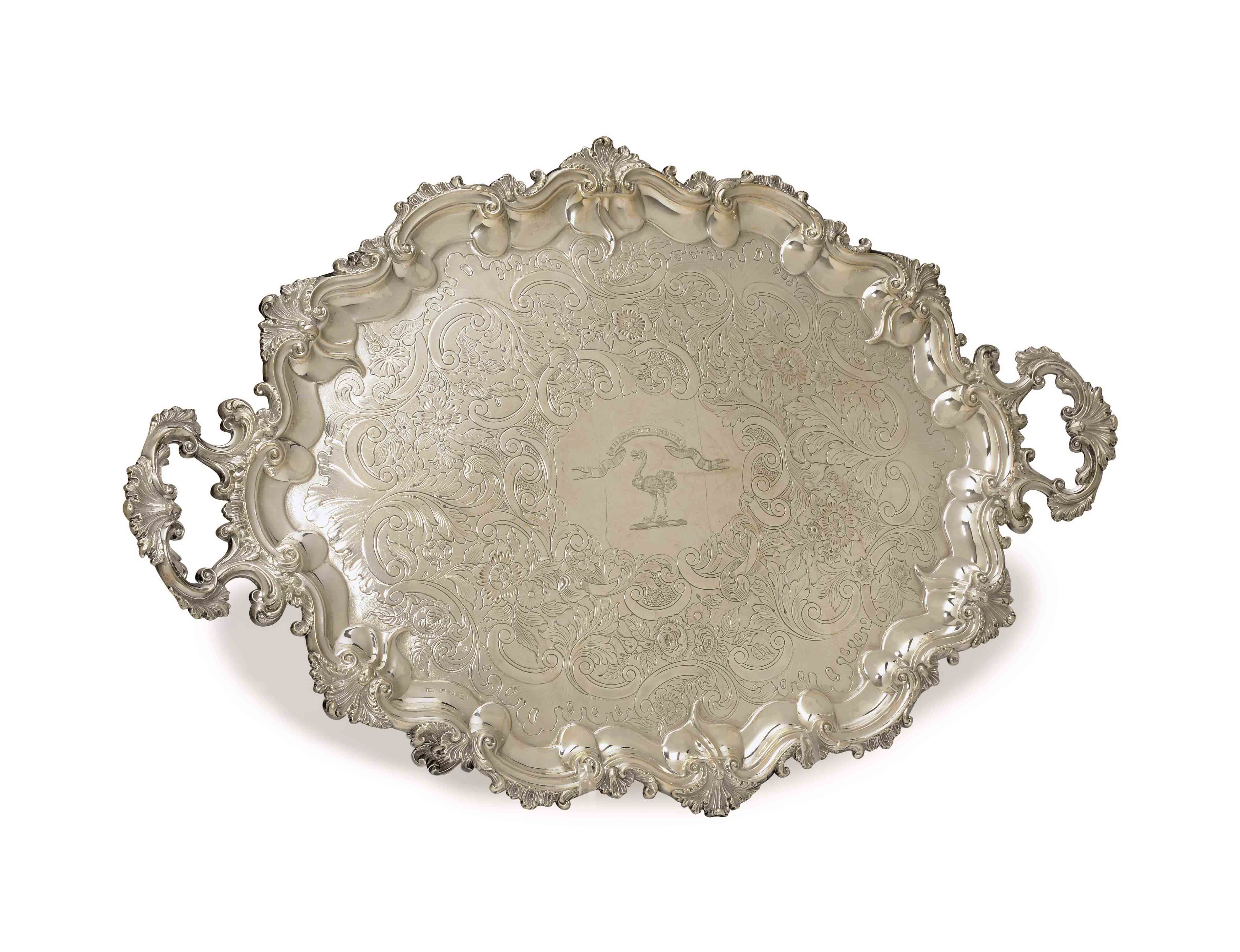 A WILLIAM IV SILVER TWO-HANDLED TEA TRAY,