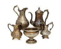 FIVE AMERICAN SILVER REPOUSSE TABLEWARES,