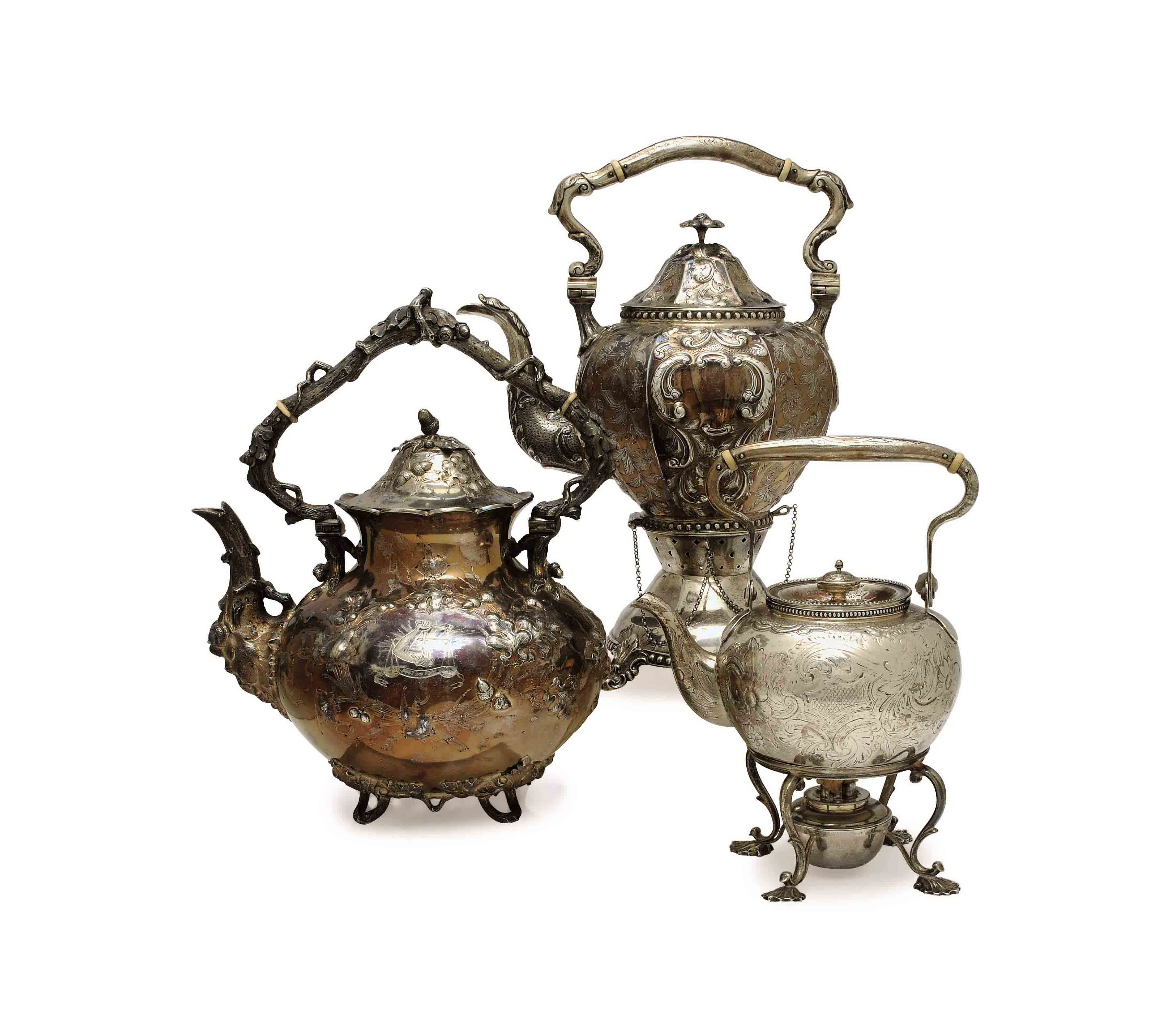 THREE AMERICAN SILVER TEAPOTS WITH HINGED COVERS, , MID
