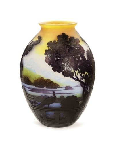 A FRANCH CAMEO GLASS LANDSCAPE